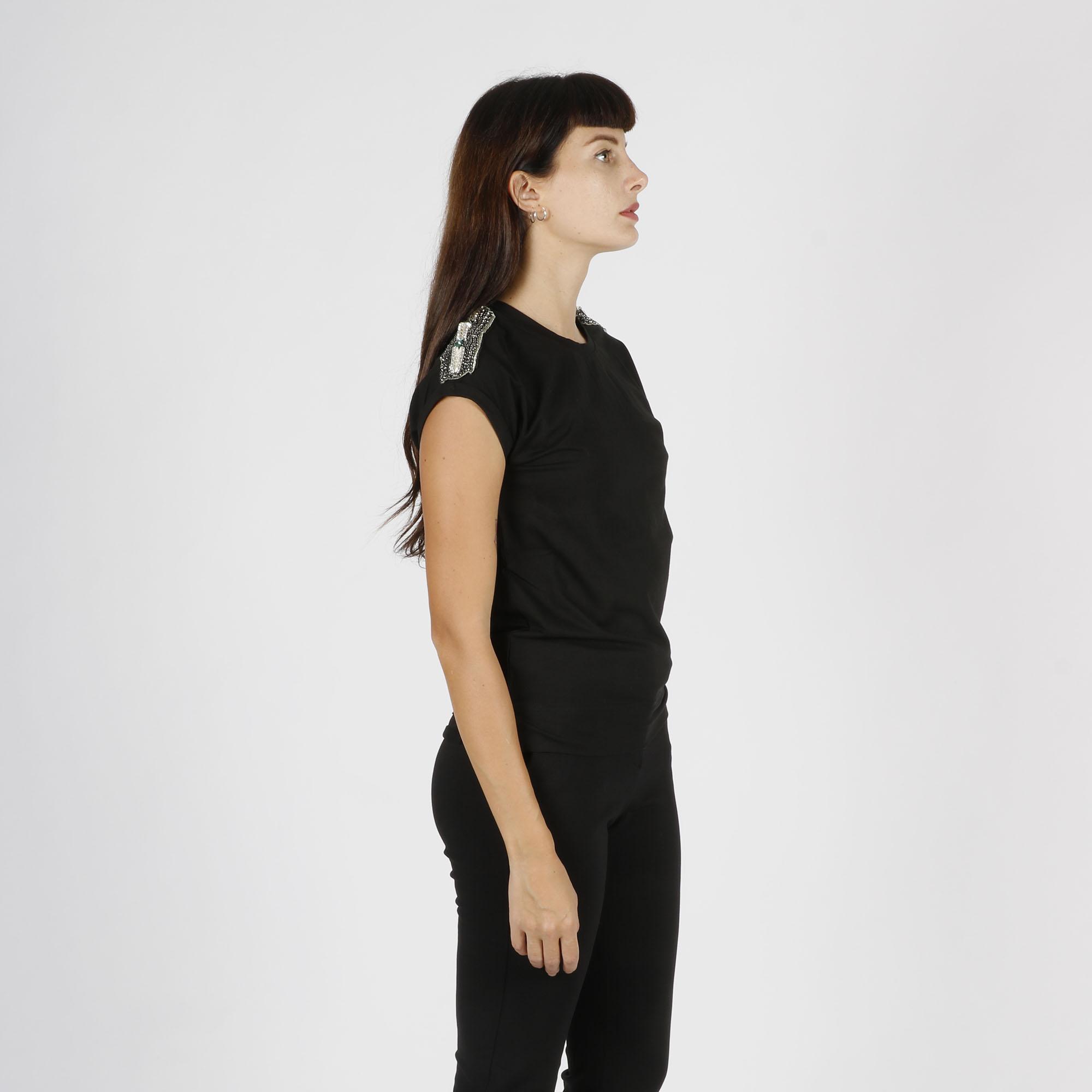 T-shirt applicazioni pietre - Nero