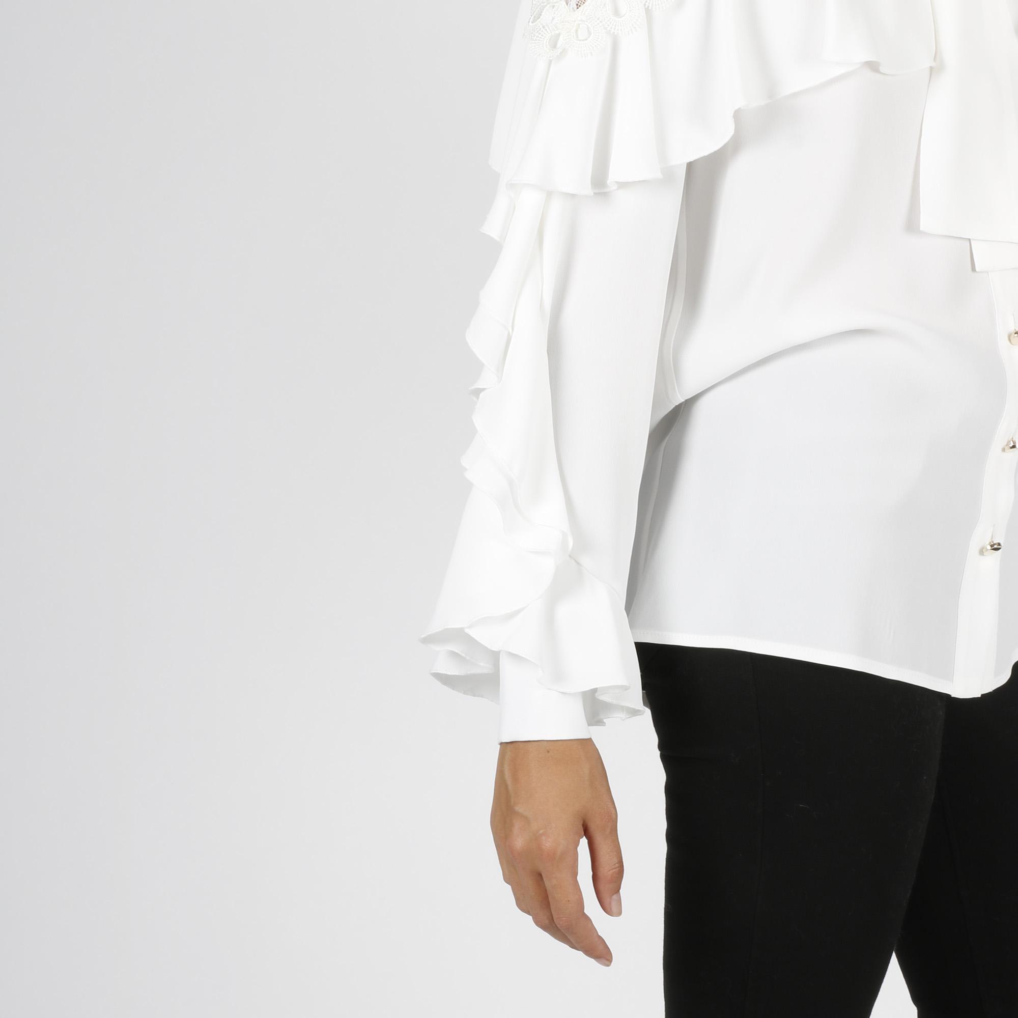 Camicia maniche lunghe con balze - Bianco