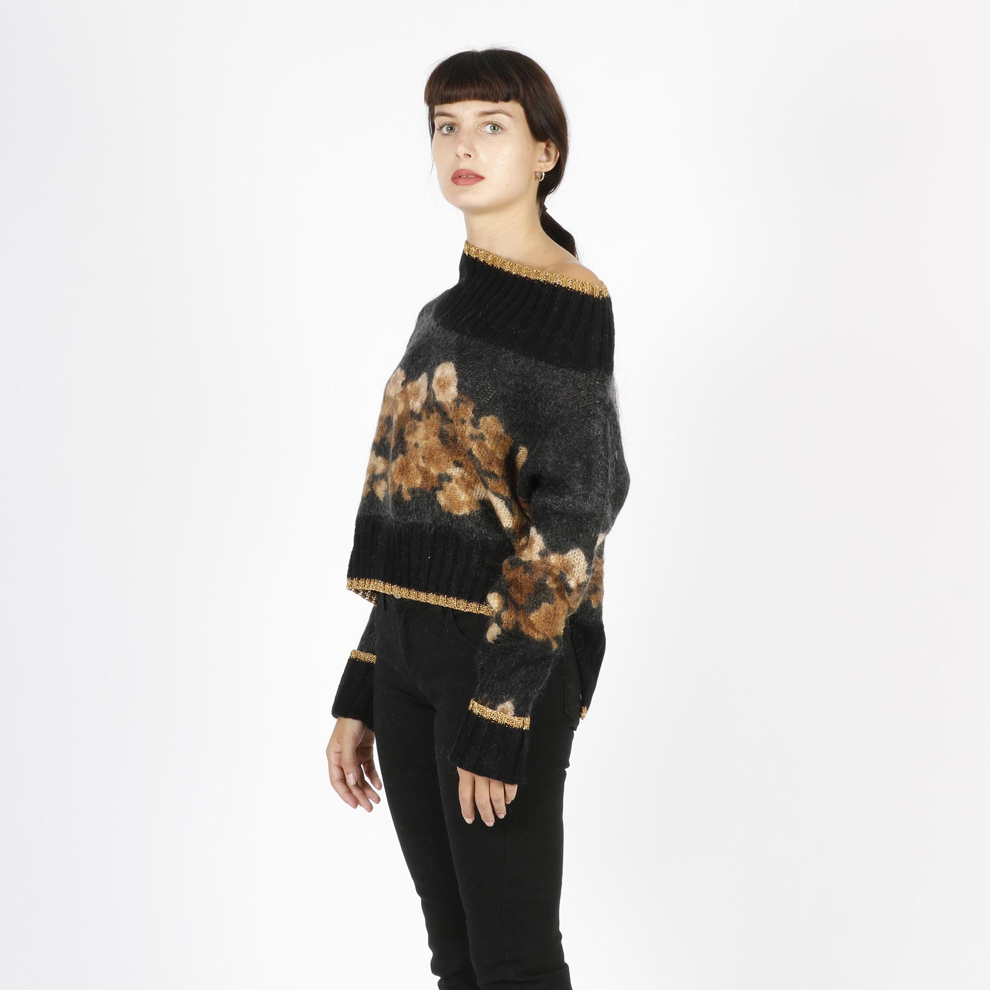 Maglione fiori mohair - Nero