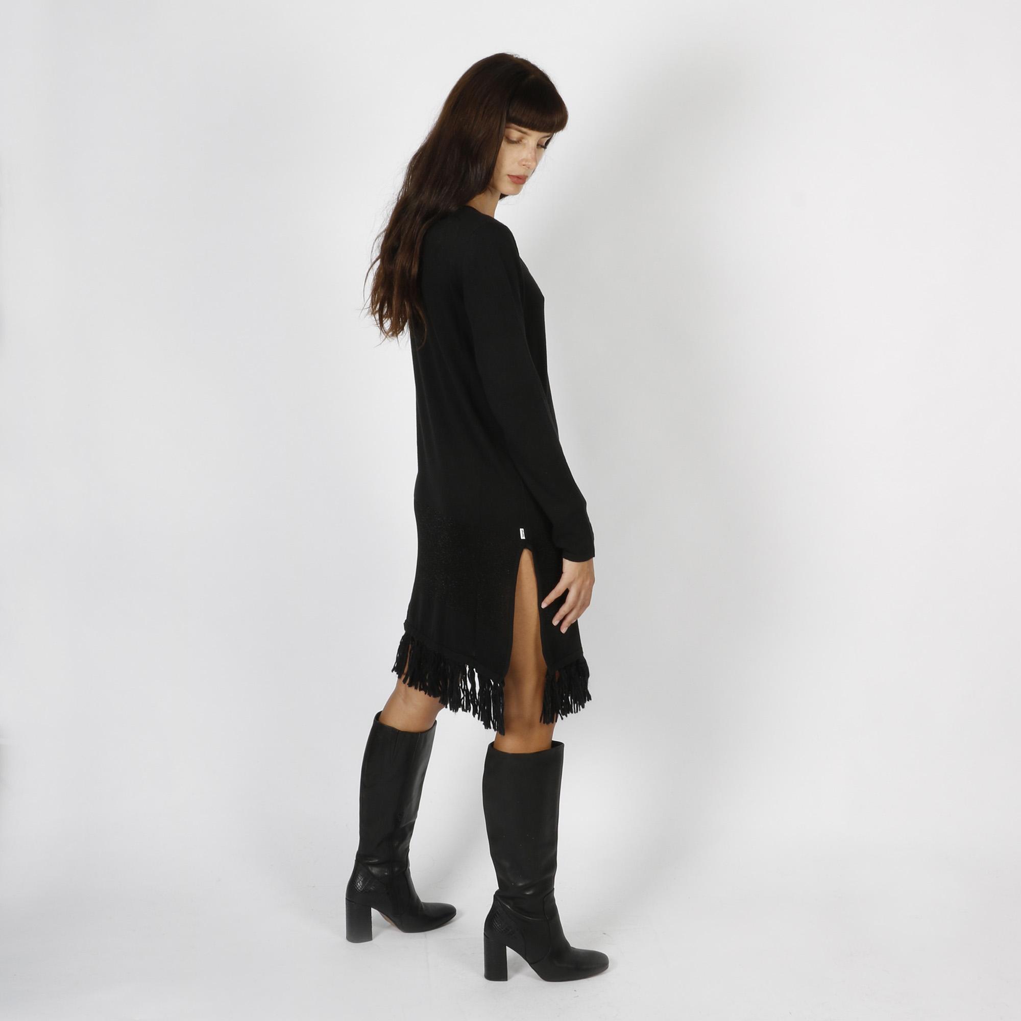 Abito maglia con frange  e lurex - Nero
