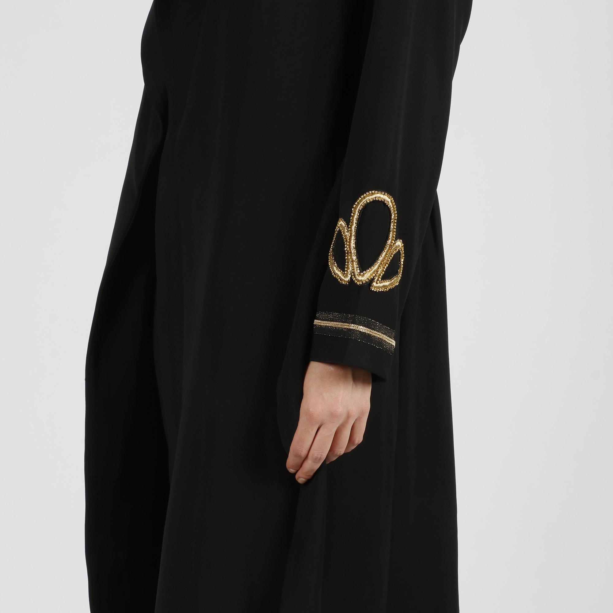 Cappotto lungo applicazioni maniche - Nero