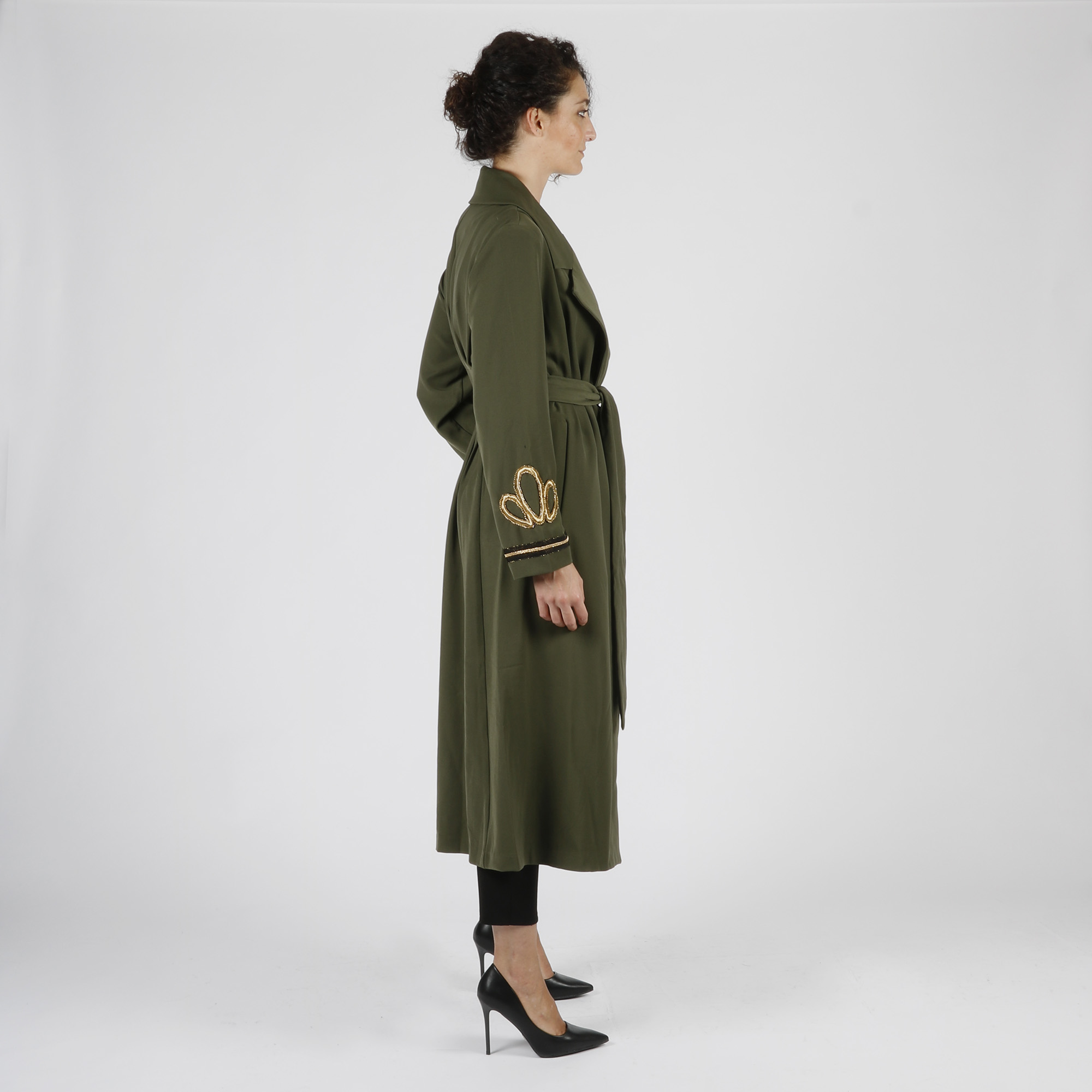 Cappotto lungo applicazione maniche - Verde