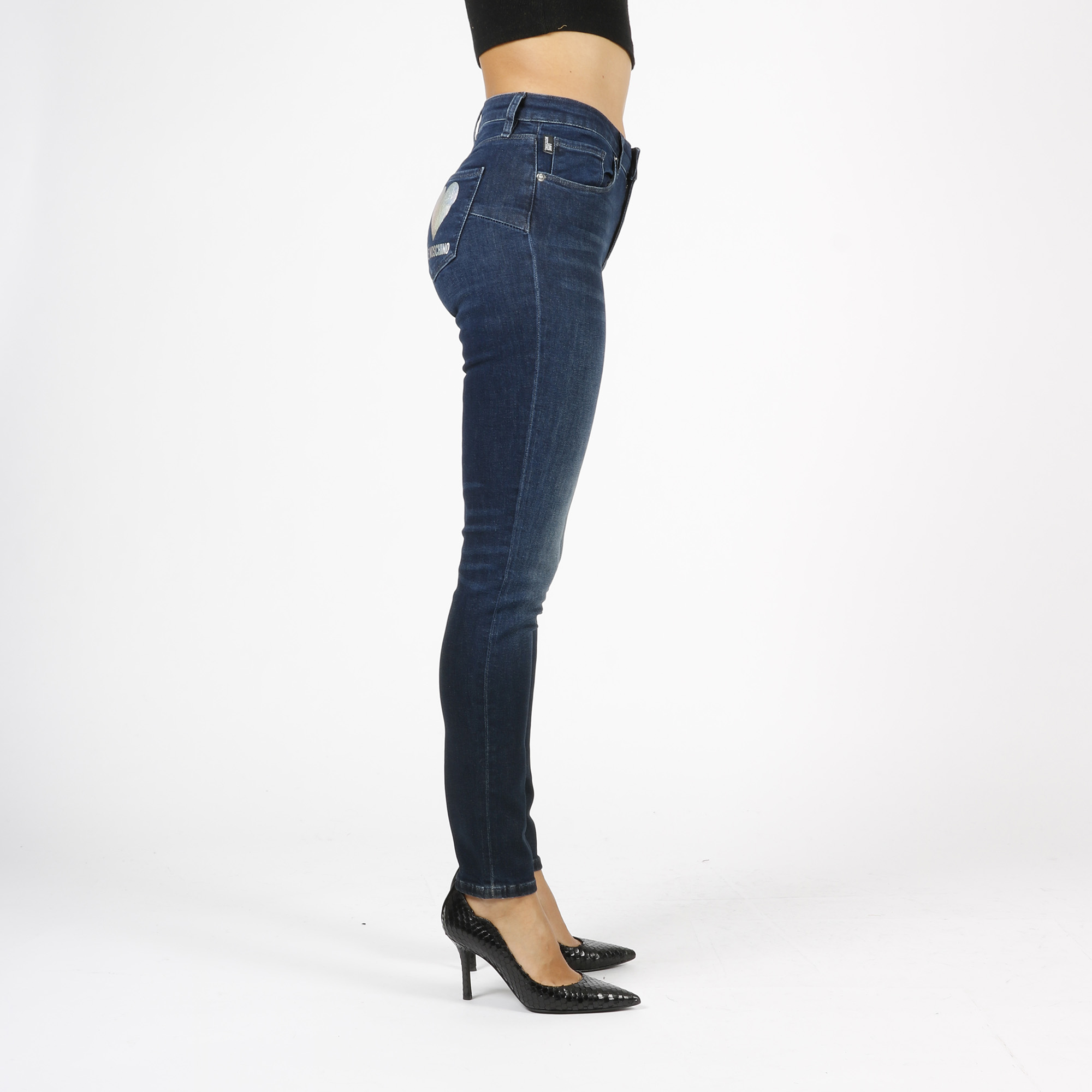 Jeans push up logo cuore - Denim