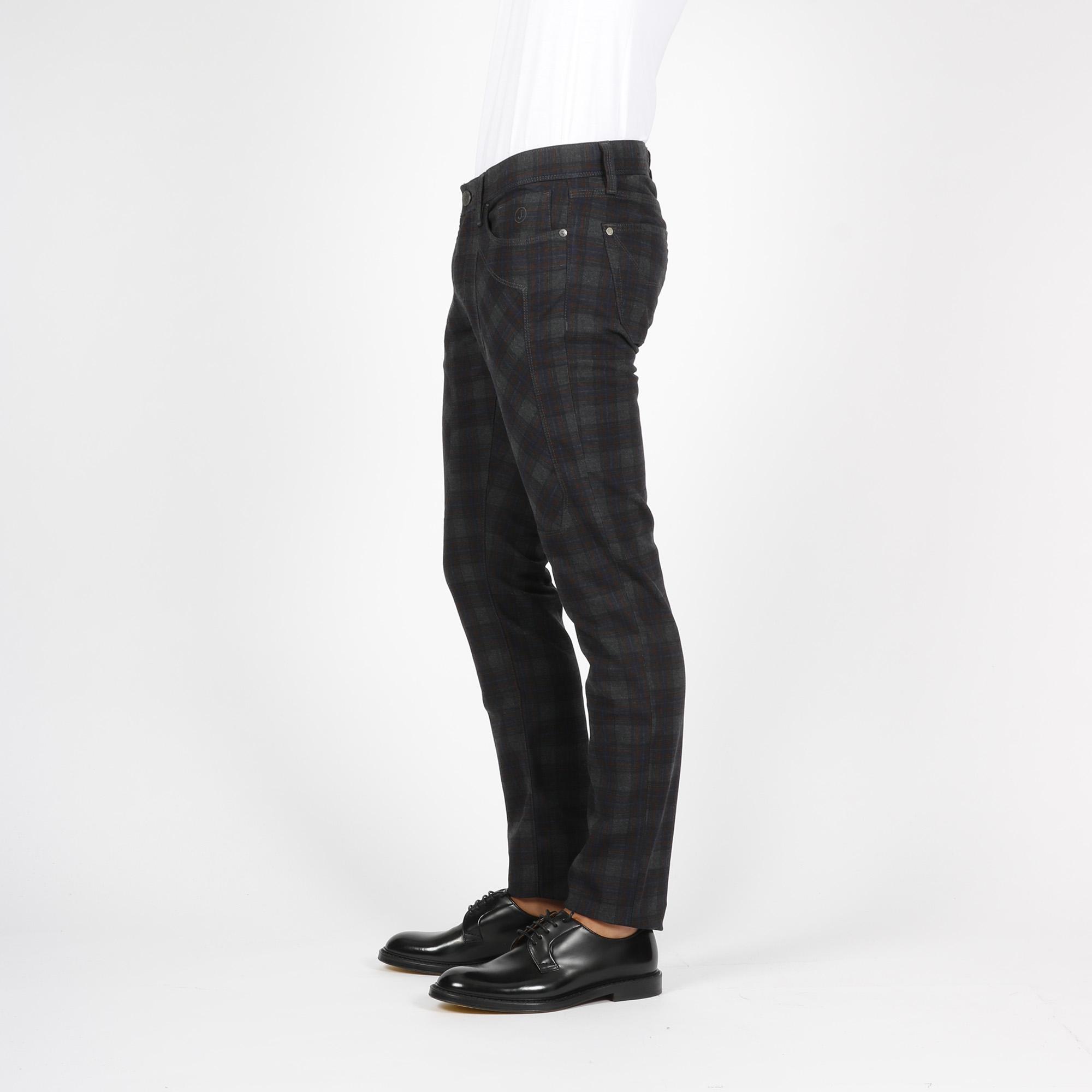 Pantalone quadro madras - Grigio/rosso