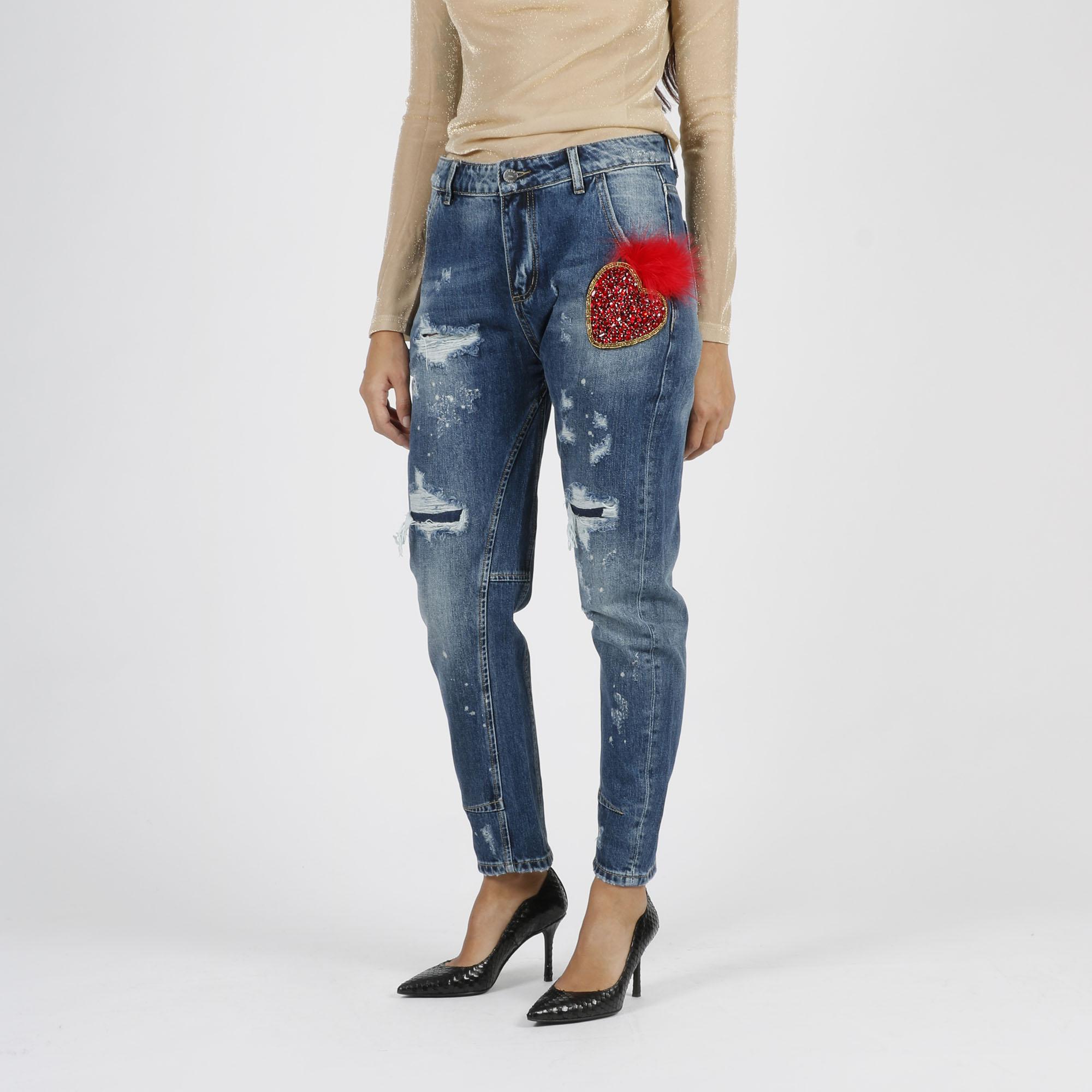 Jeans cuore piuma - Denim