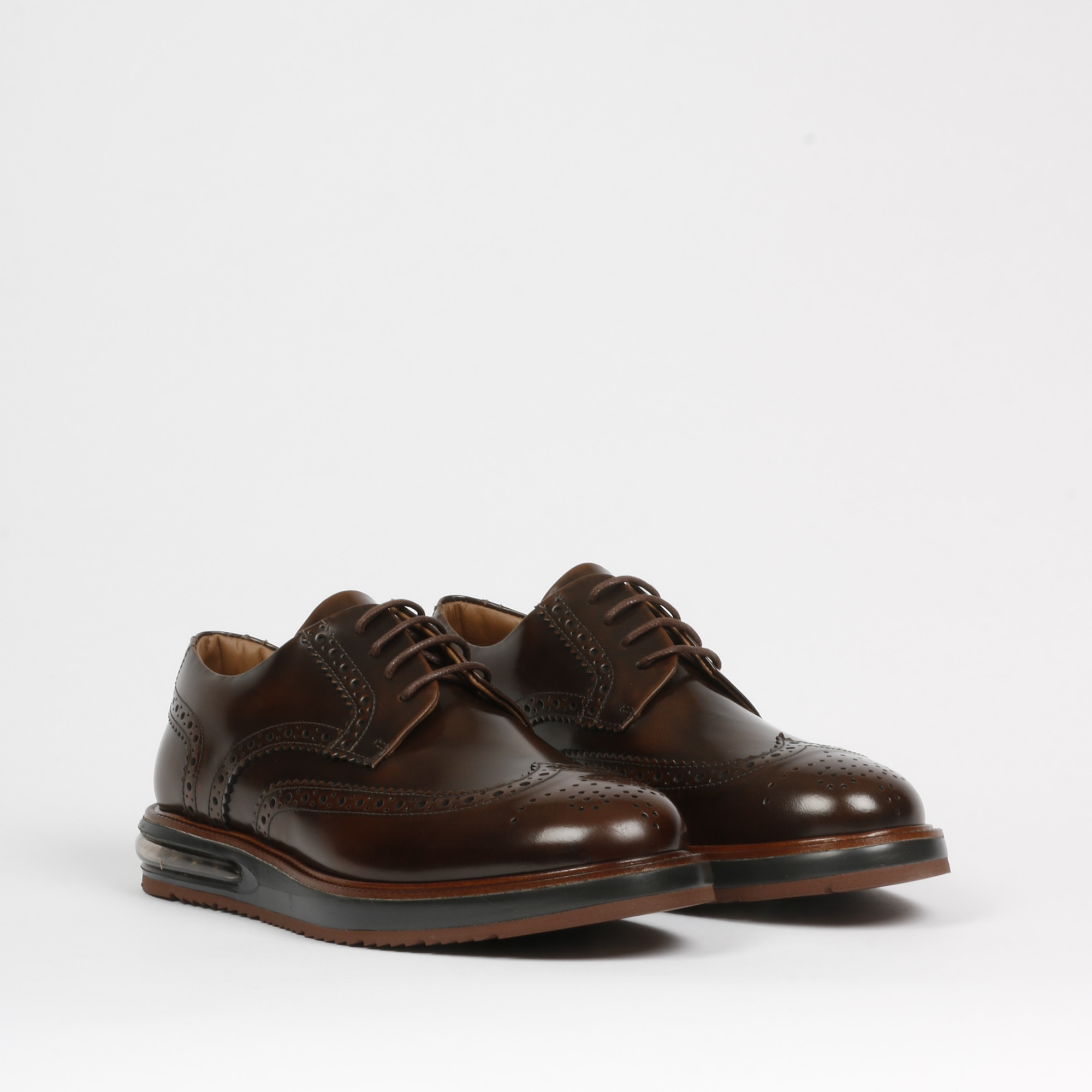 Air brogue leather - Marrone