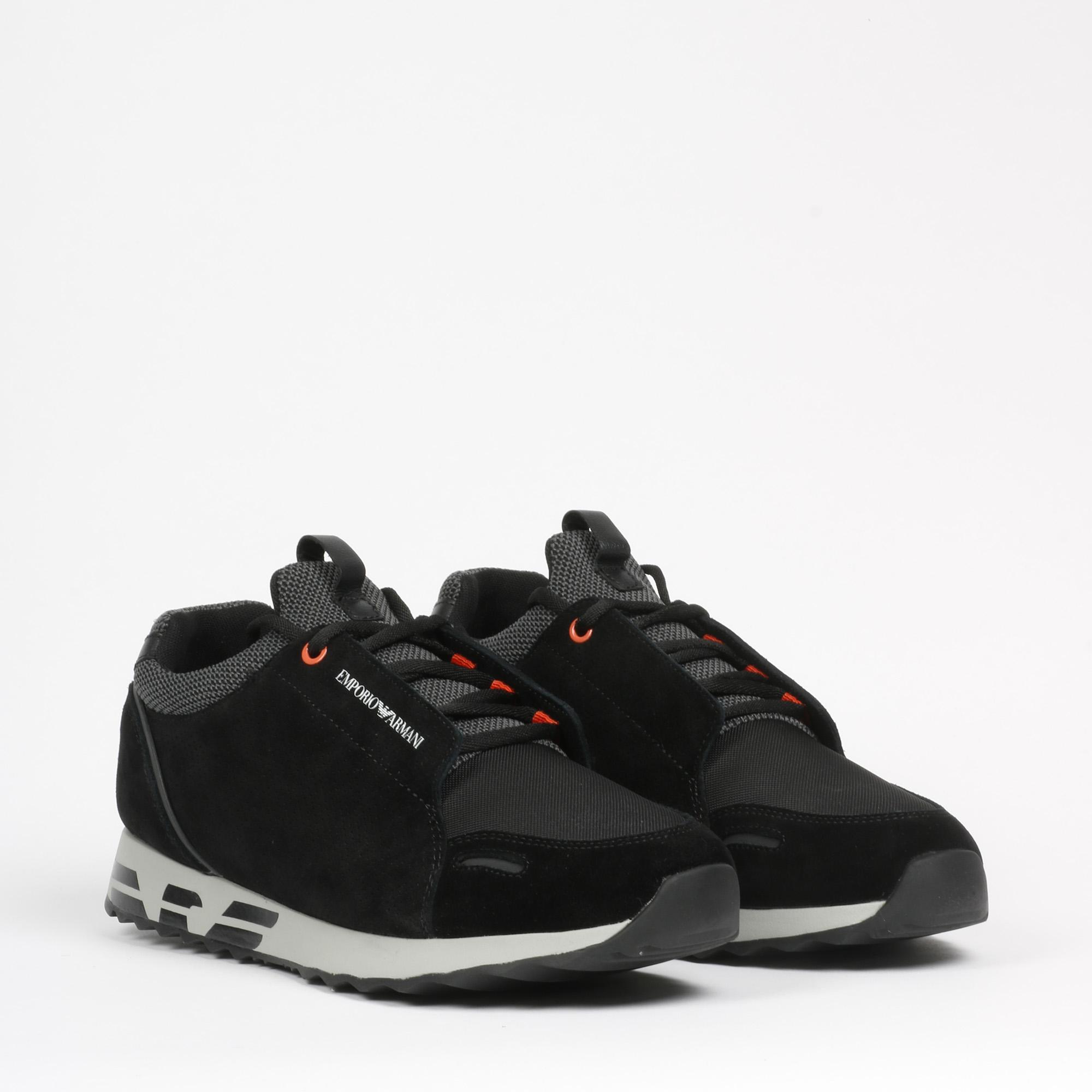 Sneakers suede logo - Nero