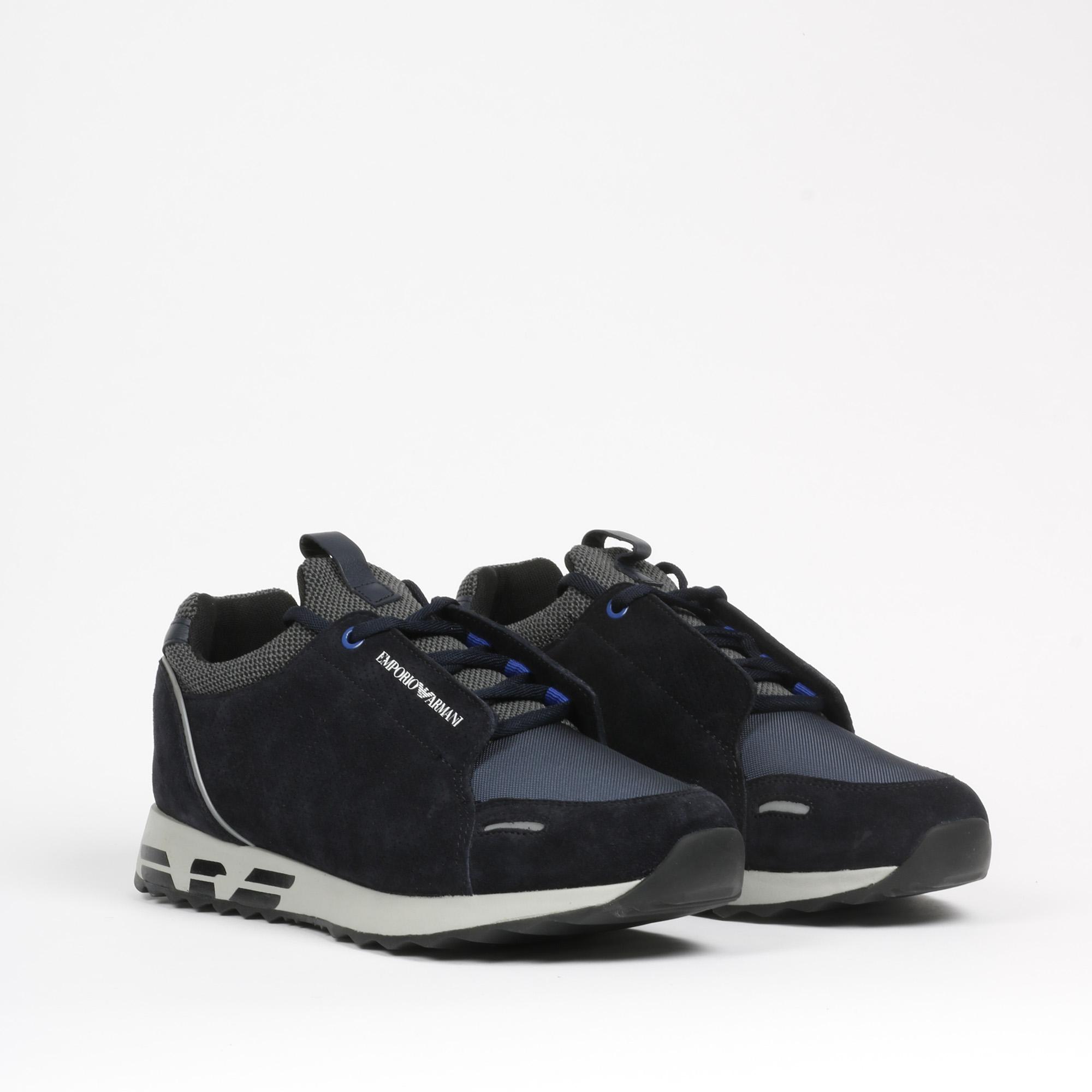 Sneakers suede logo - Blu