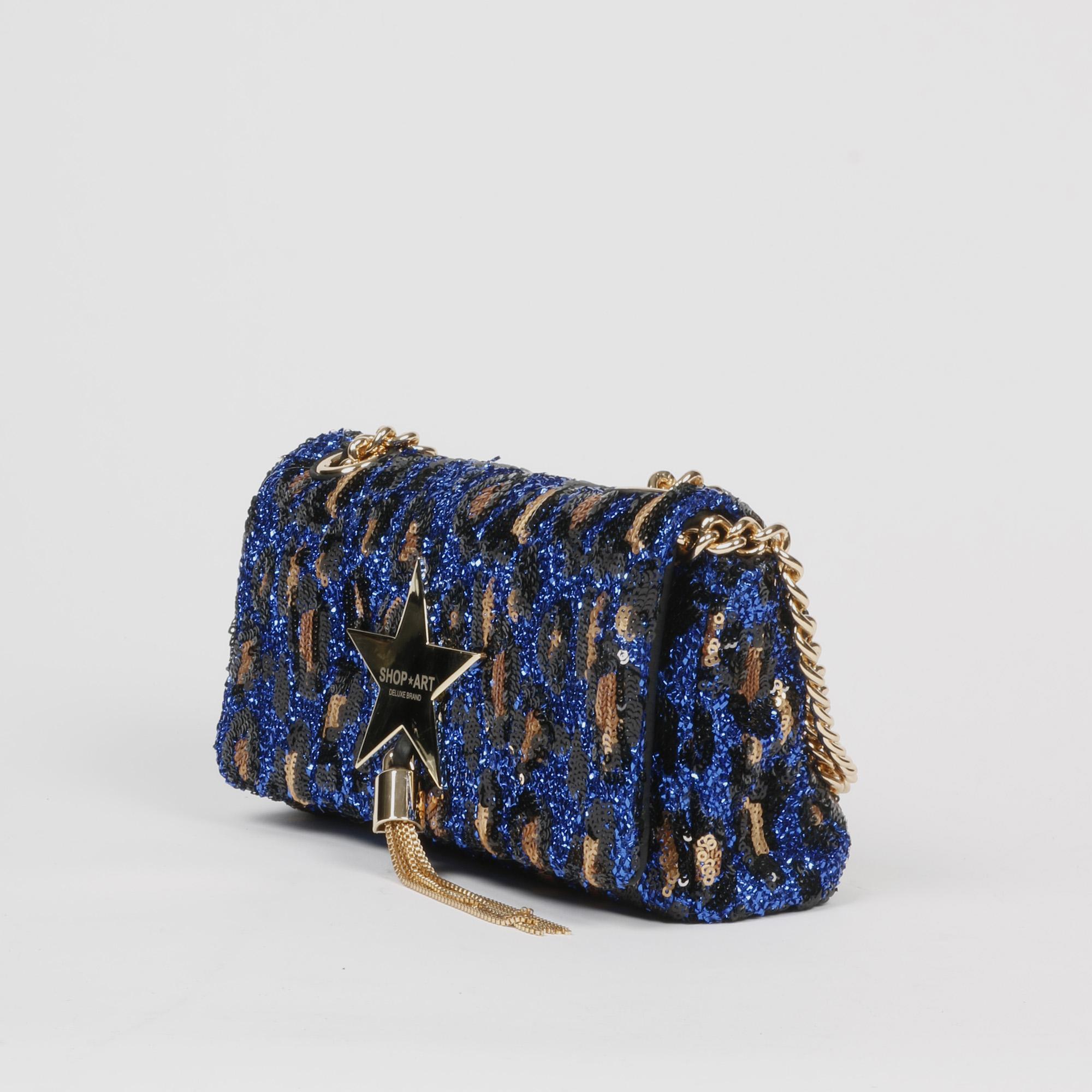 Borsa piccola paillettes - Blu