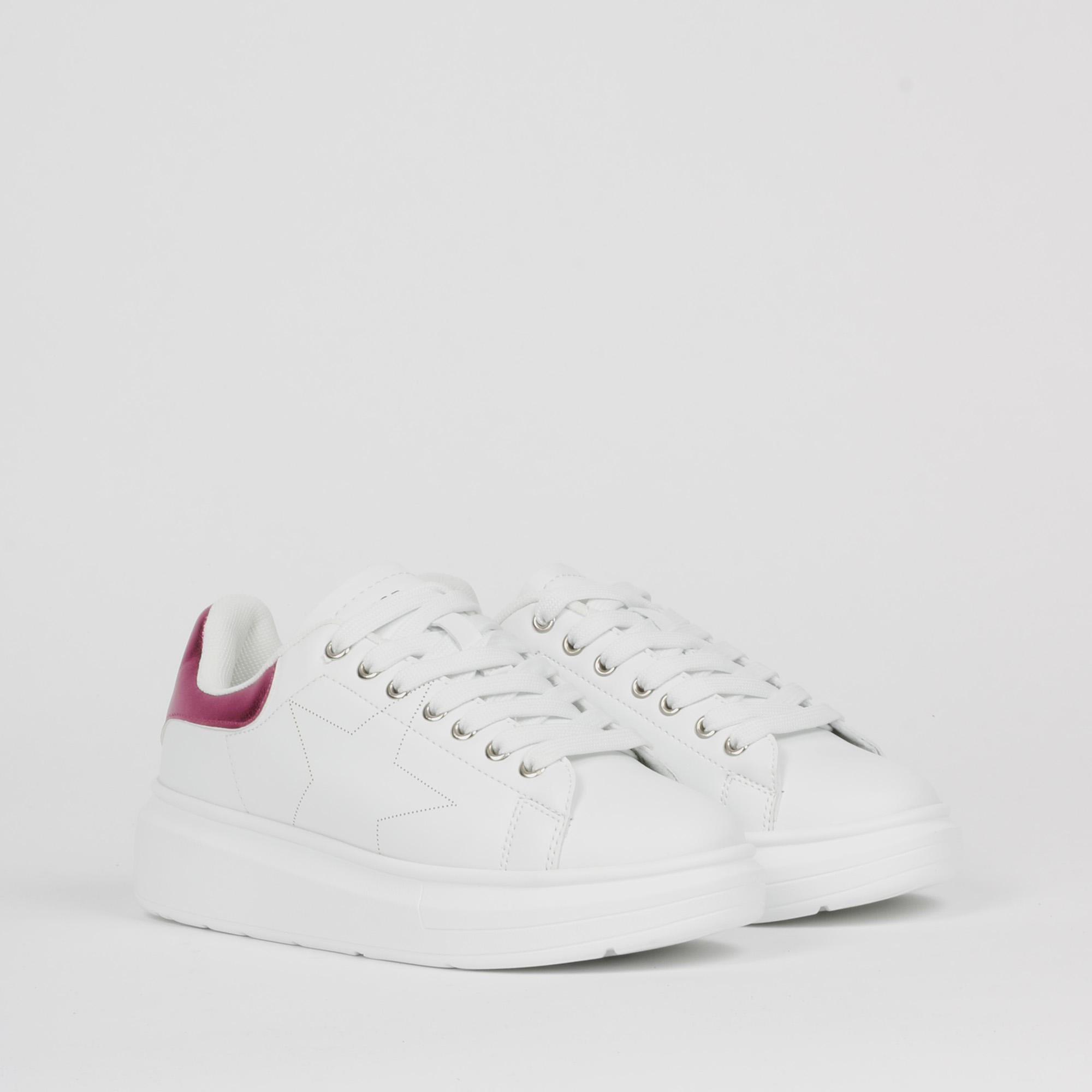 Sneakers inserto metal fucsia - Bianco