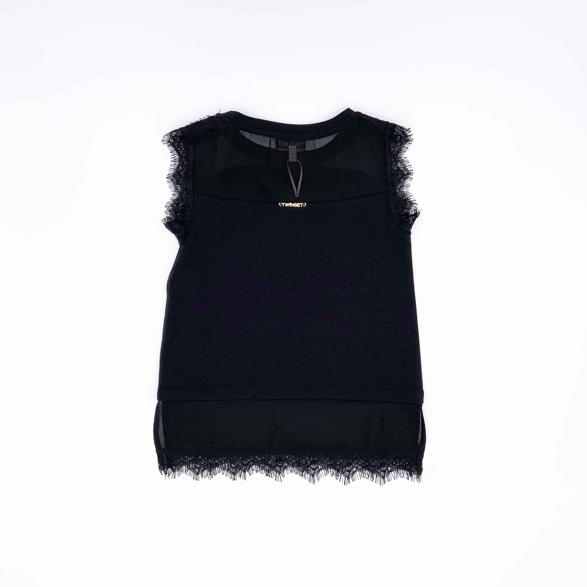Blusa doppio tessuto - Nero