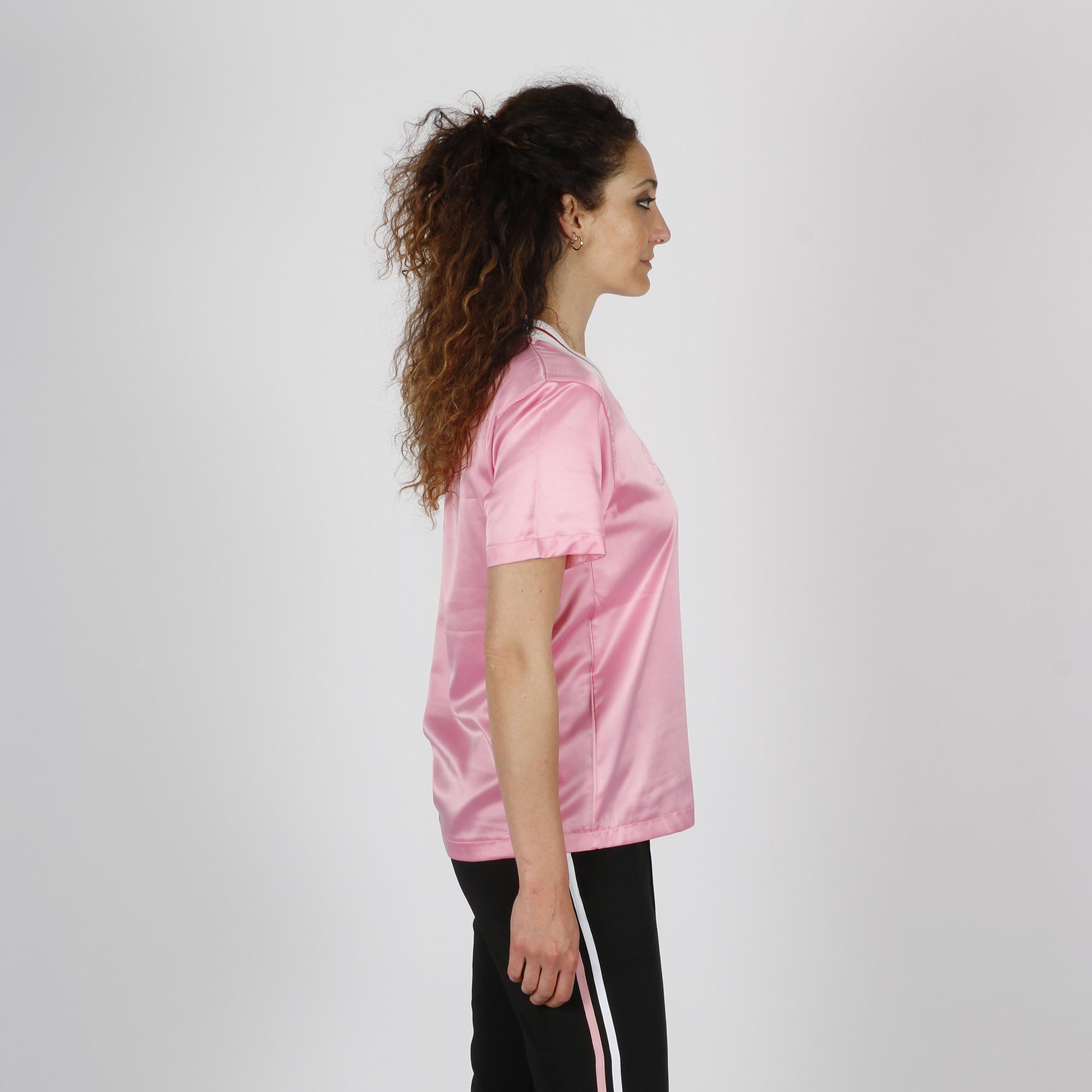 T-shirt effetto lucido con logo - Rosa