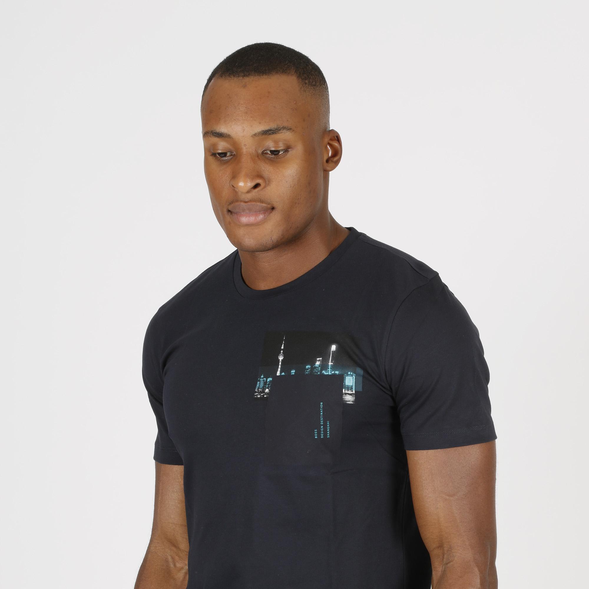 T-shirt stampa city - Blu scuro