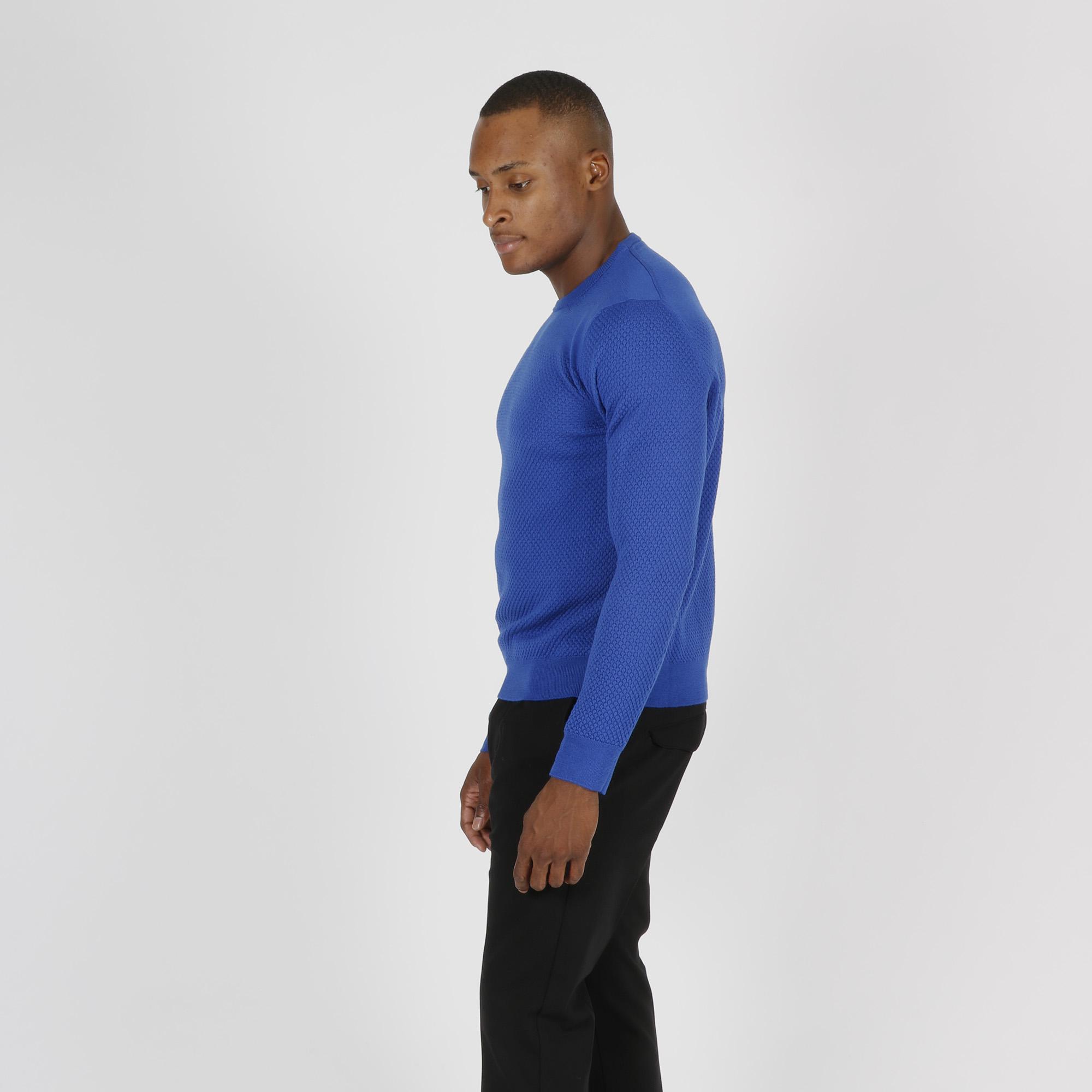 Paricollo punto maglia treccia - Blu royal