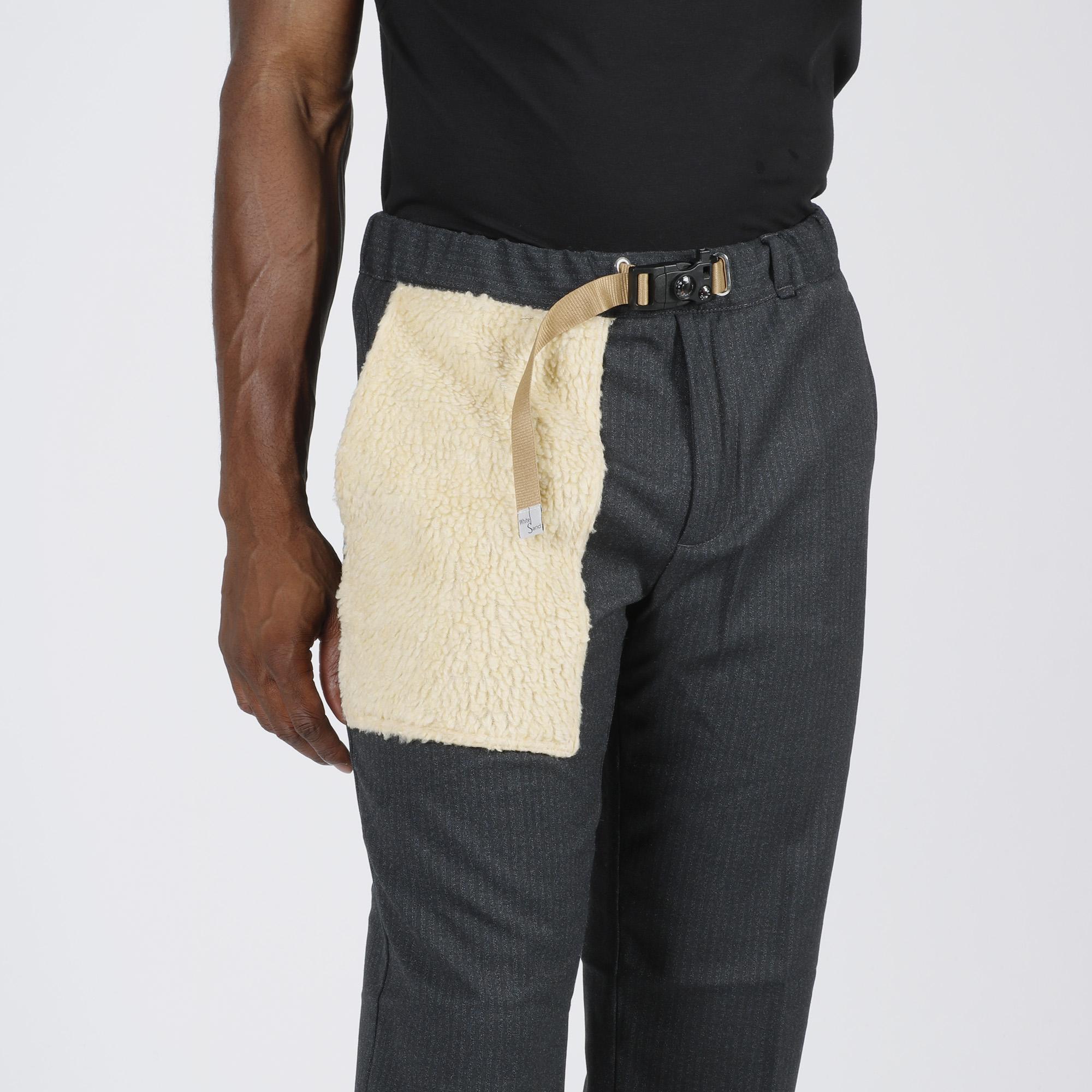 Pantalone inserto pelliccia - Grigio scuro