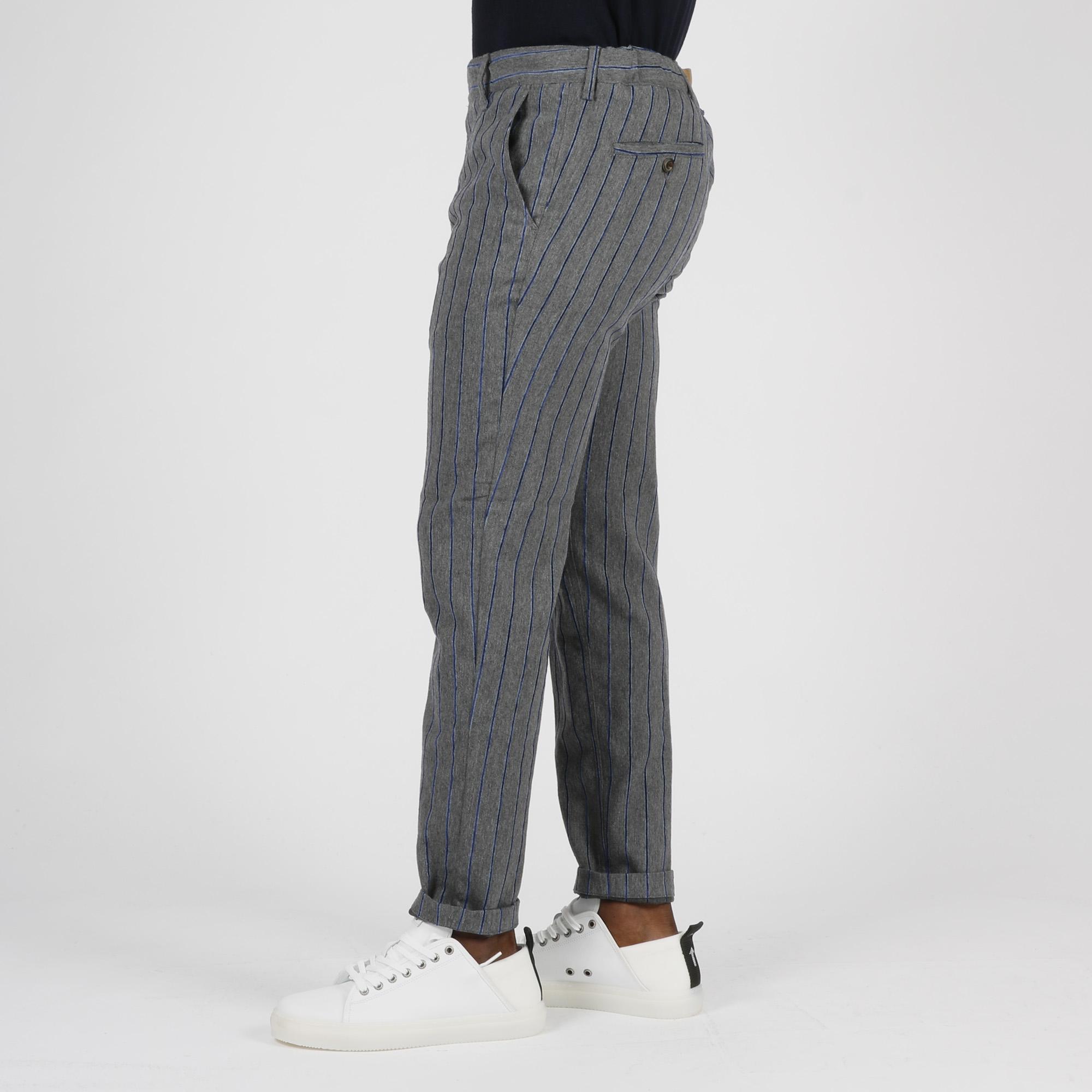 Pantalone gessato - Grigio/blu