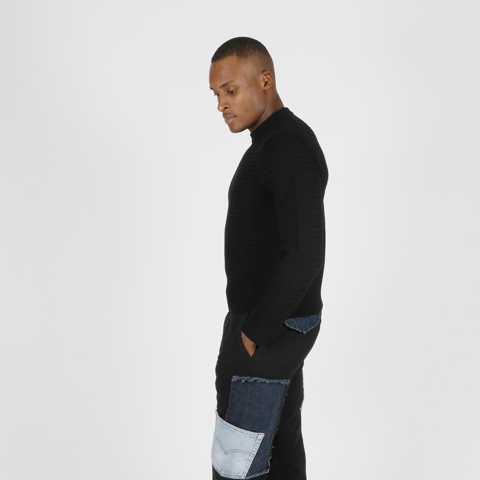 Paricollo punto maglia treccia - Nero