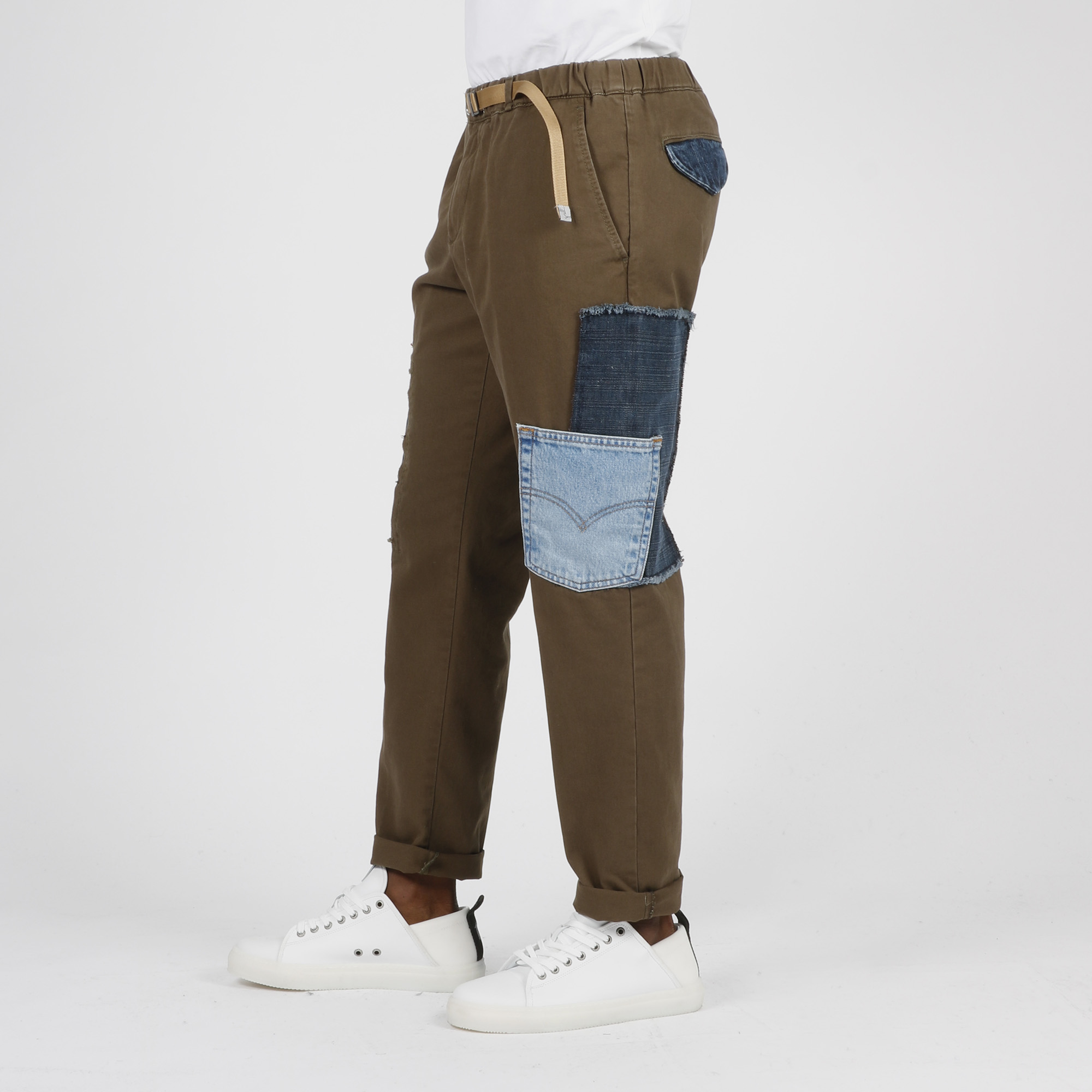 Pantalone toppe denim - Verde militare