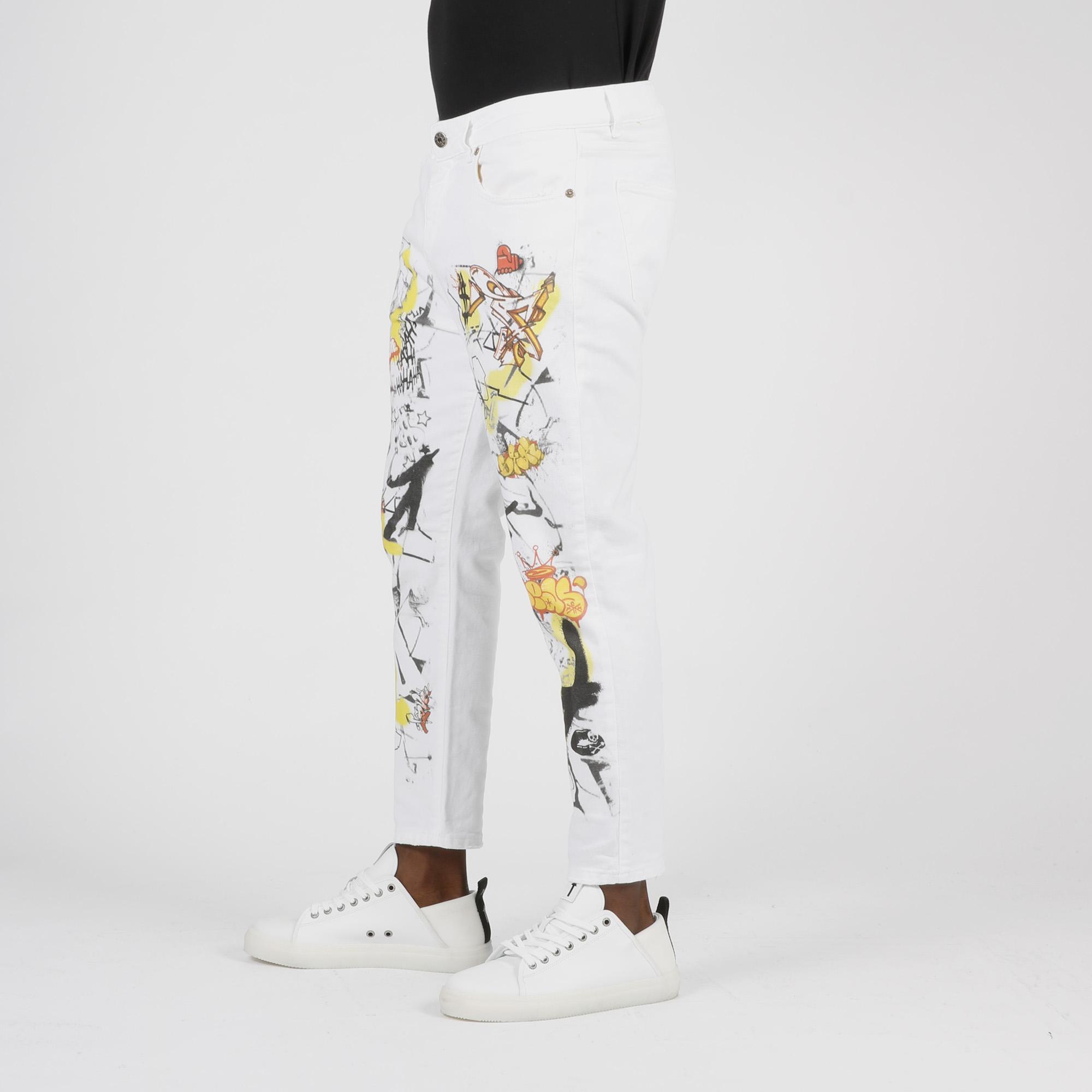 Jeans graffiti - Bianco