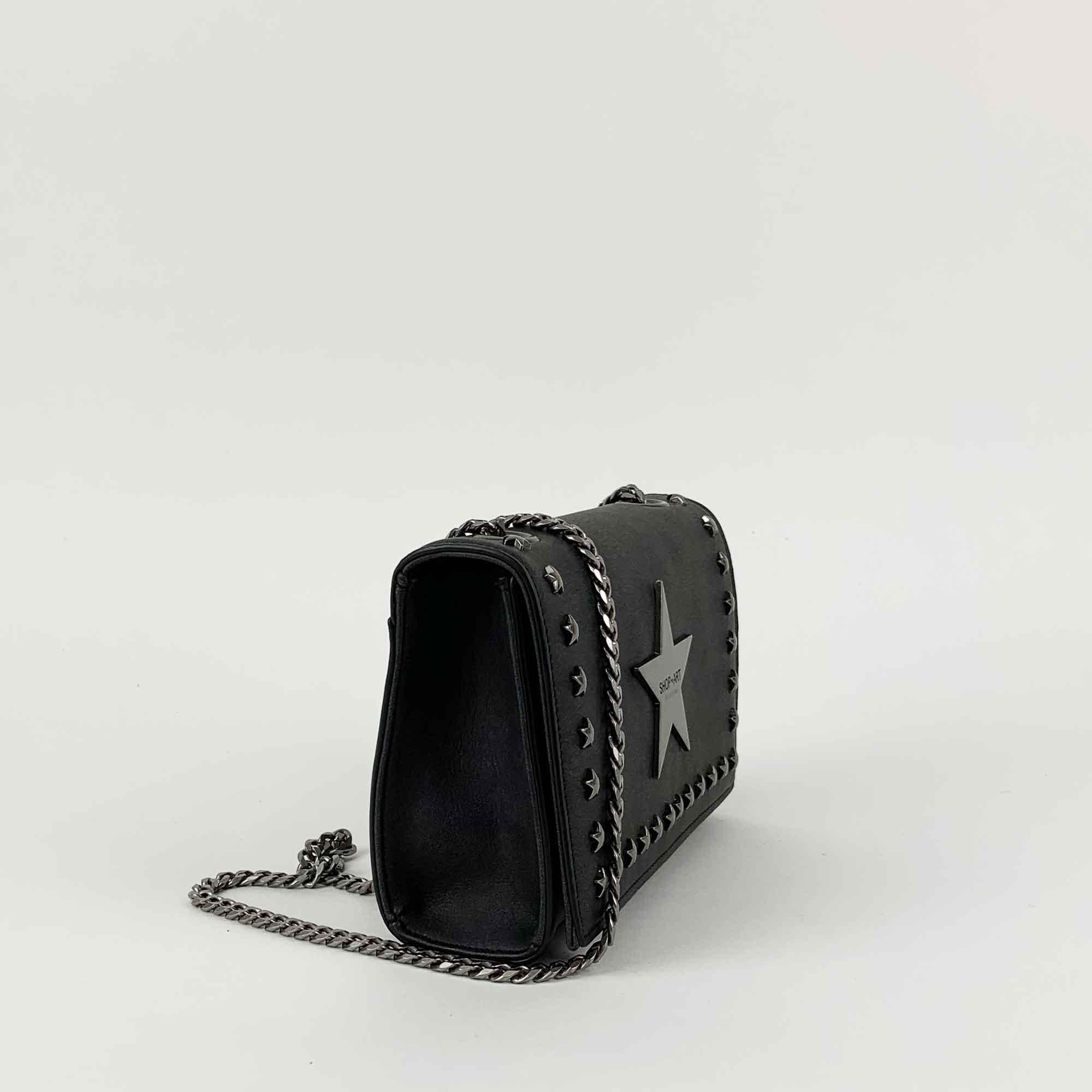 Tracolla piccola con borchie - Nero