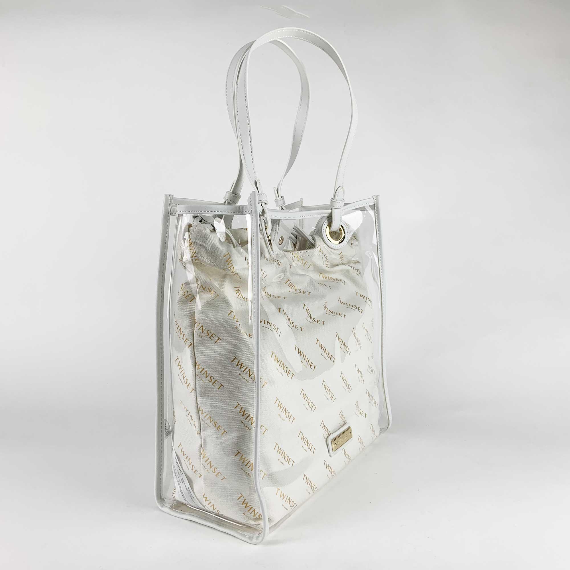 Borsa shopper con sacca  logata - Bianco