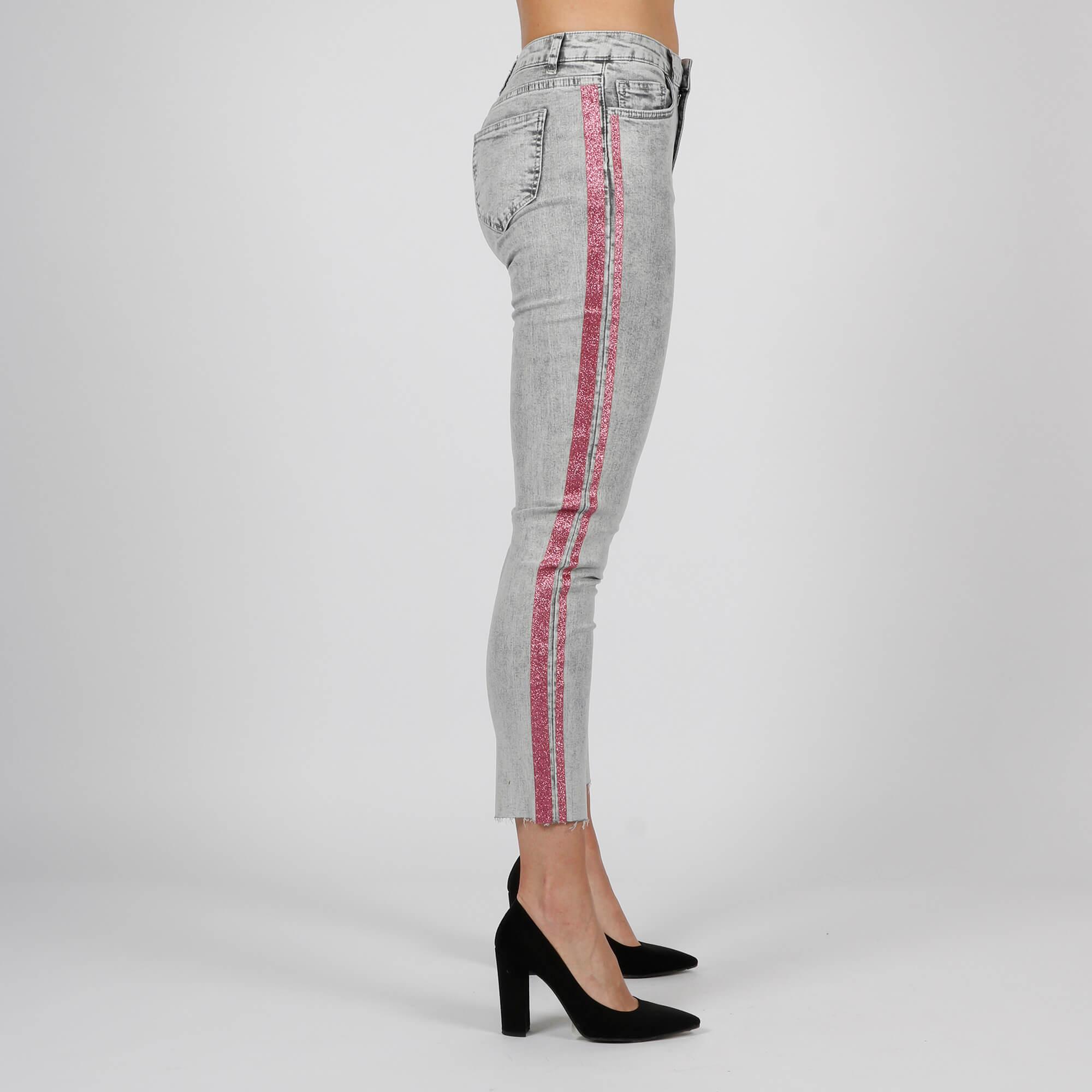 Jeans banda glitter - Grigio