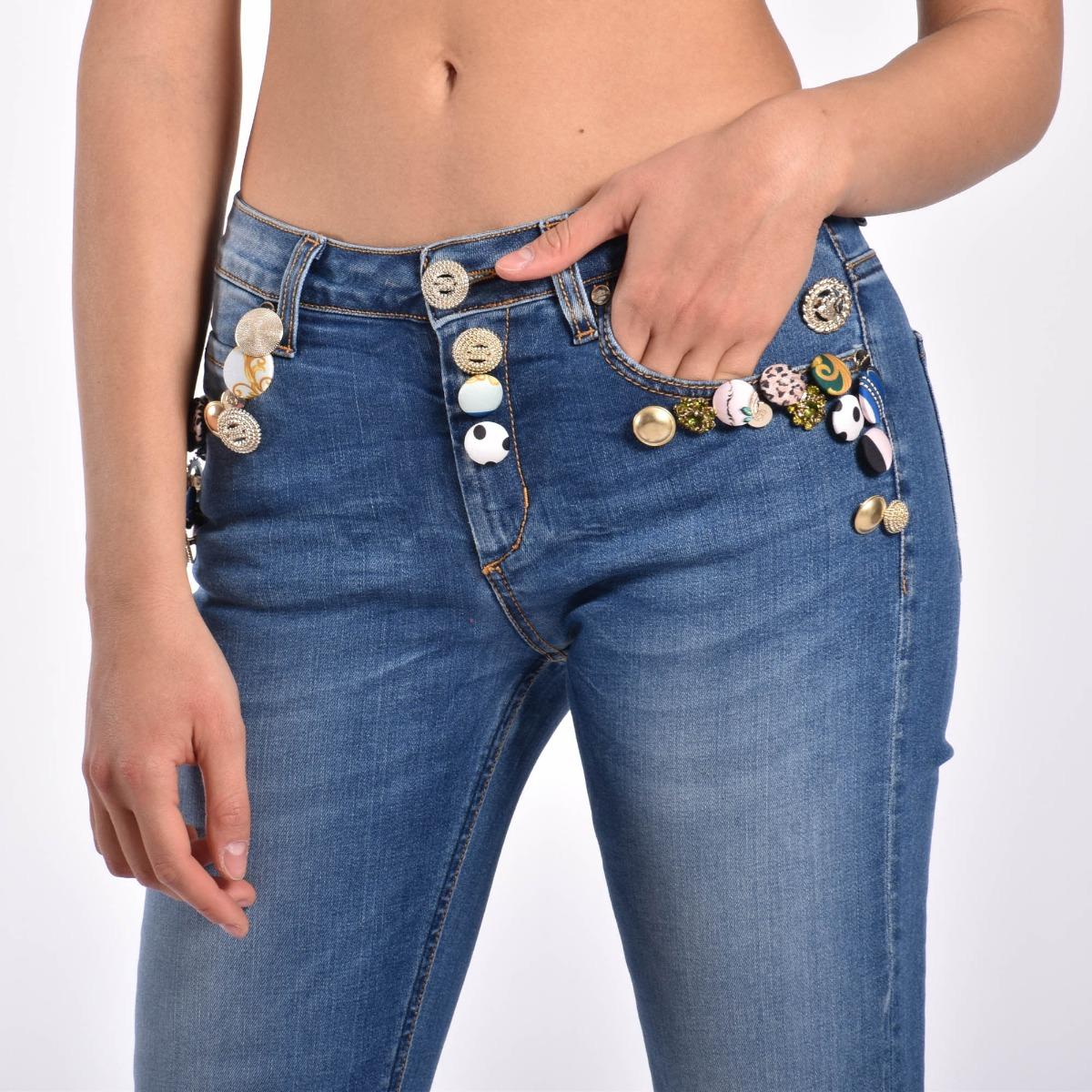 Jeans bottoni- Denim medio