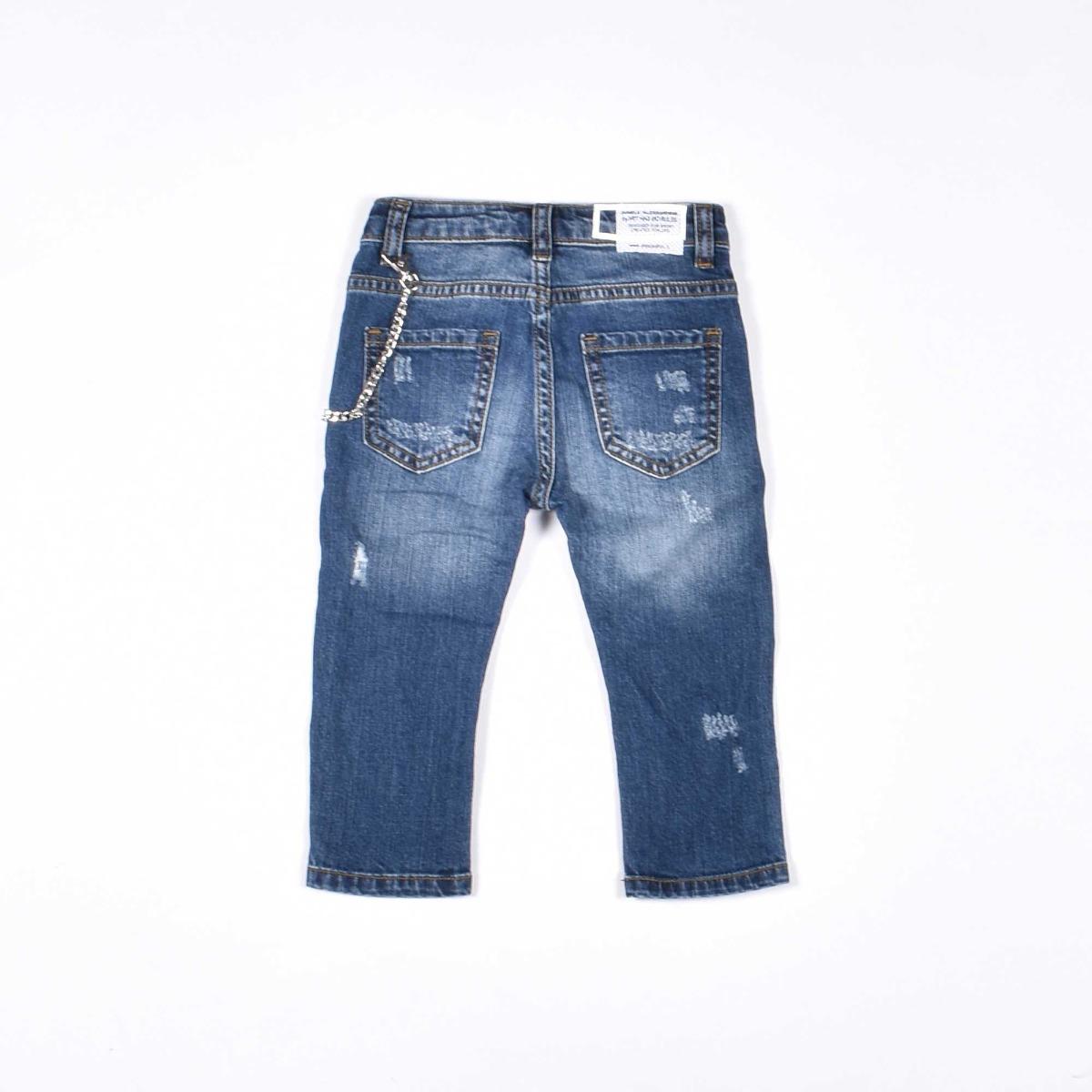 Jeans con catenina di perle - Denim