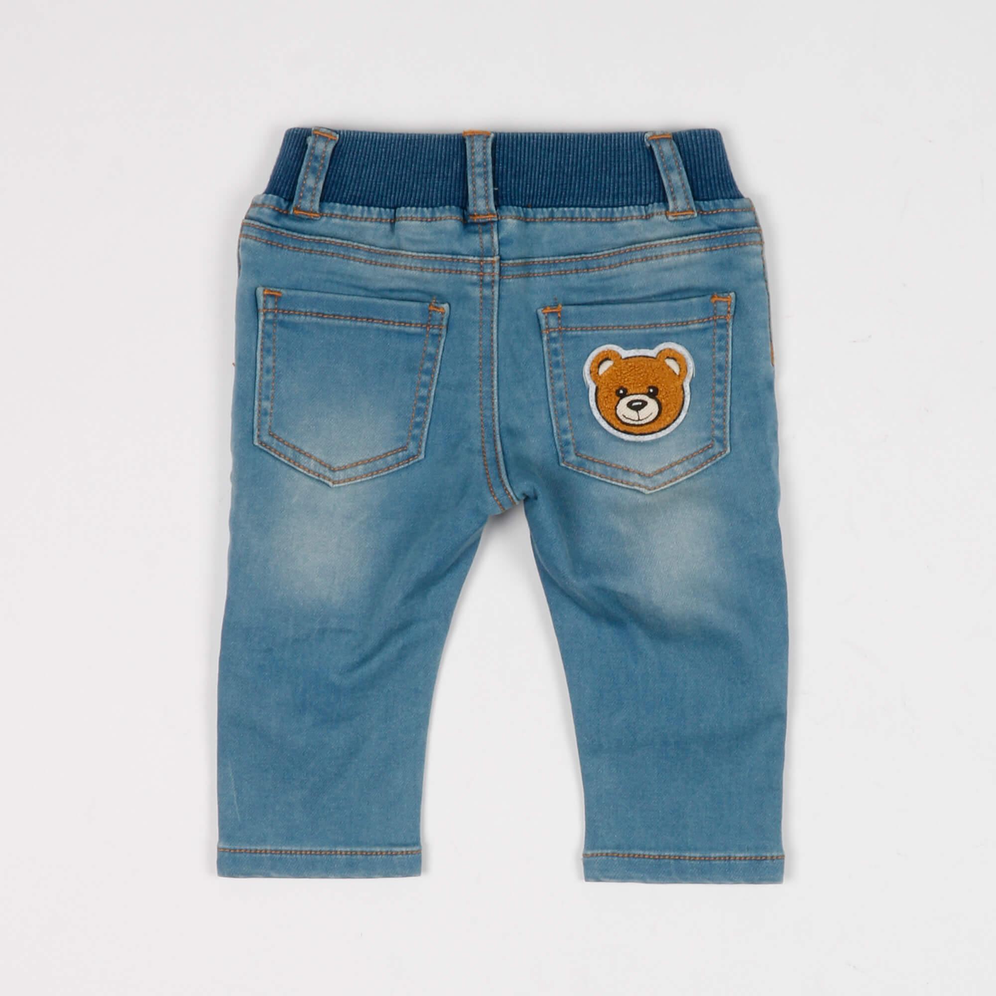 Jeans felpa con logo e teddy- Denim