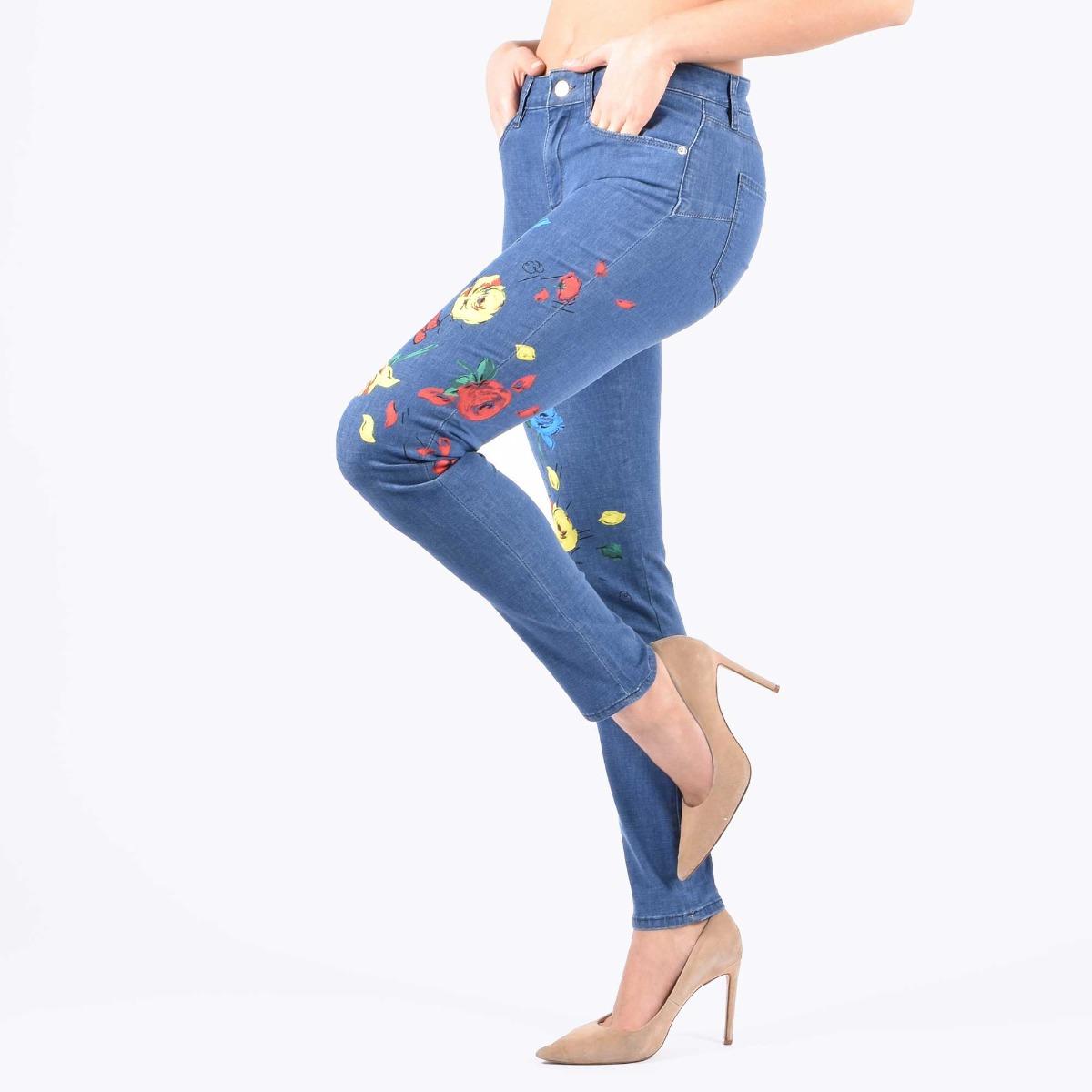 Jeans stampa floreale- Denim medio