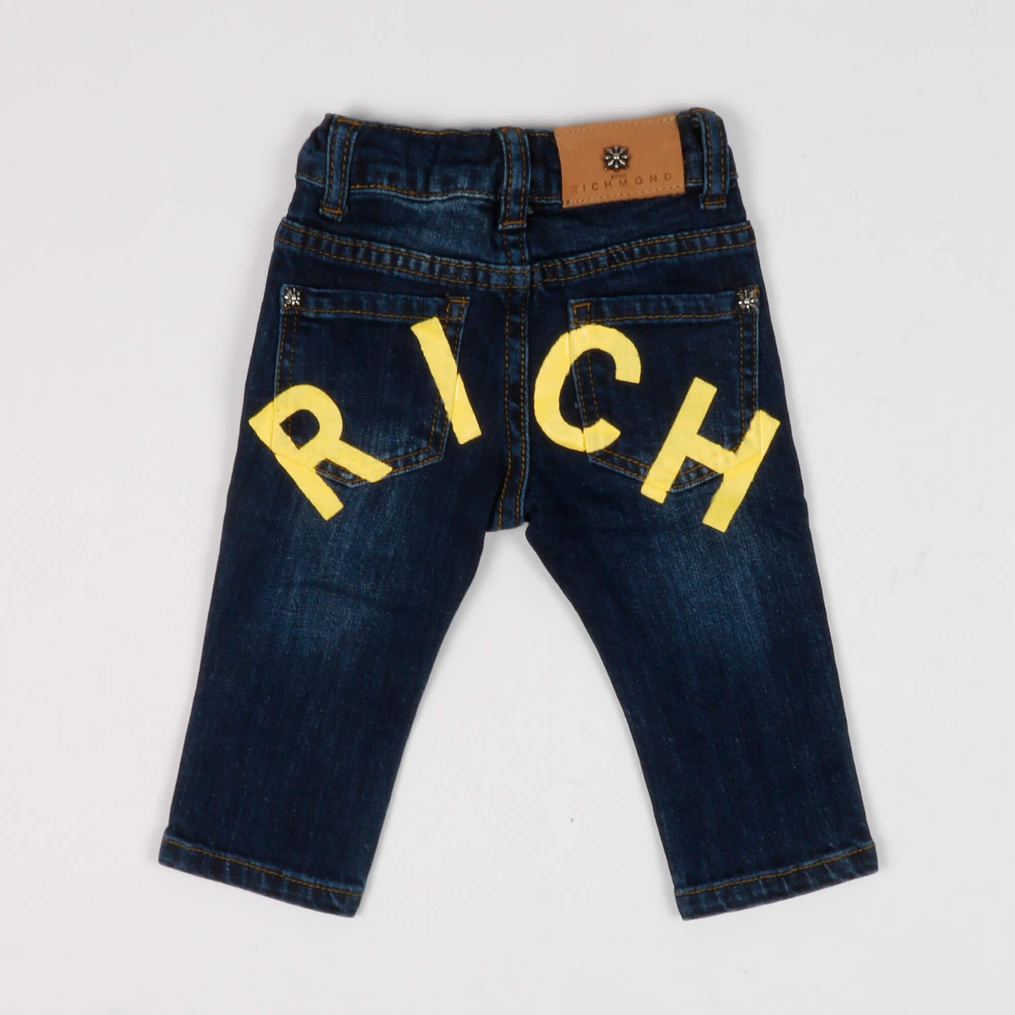 Jeans logo giallo - Denim scuro