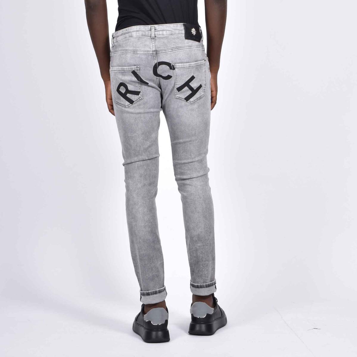 Jeans halland scritta rich - Denim grigio