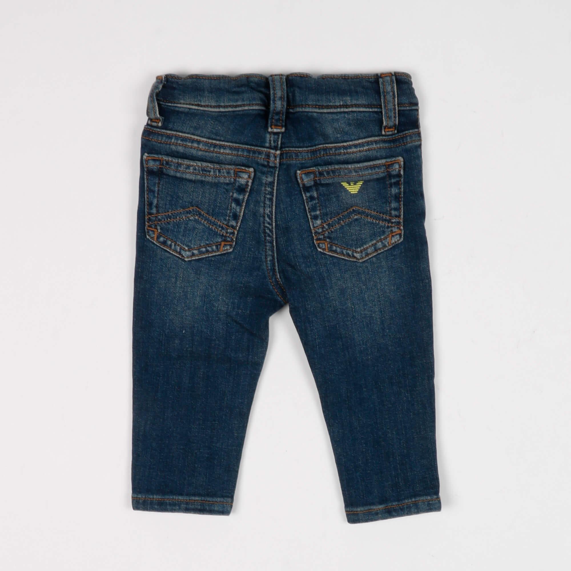 Jeans neonato con patch logo - Denim scuro