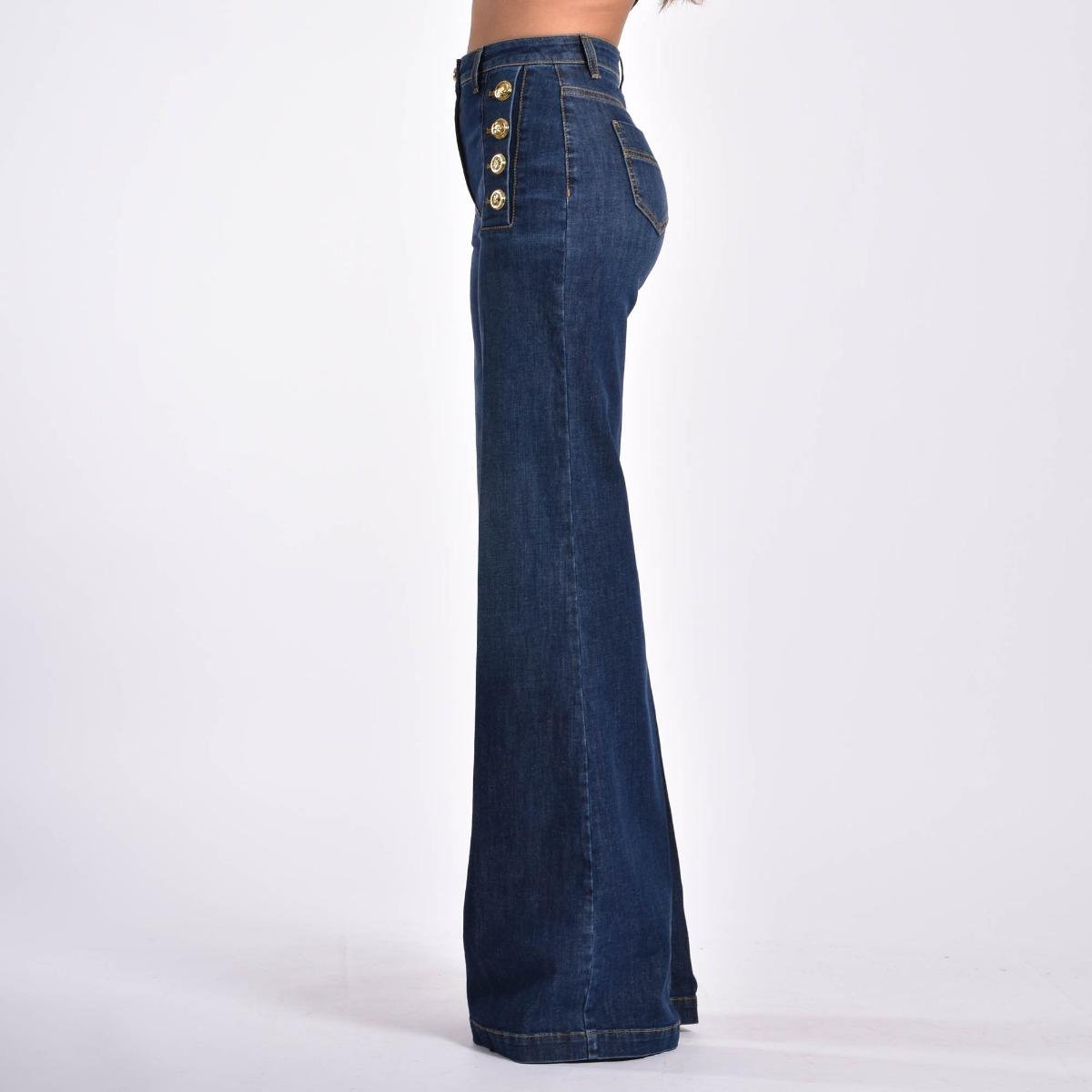 Jeans palazzo bottoni logati- Denim scuro