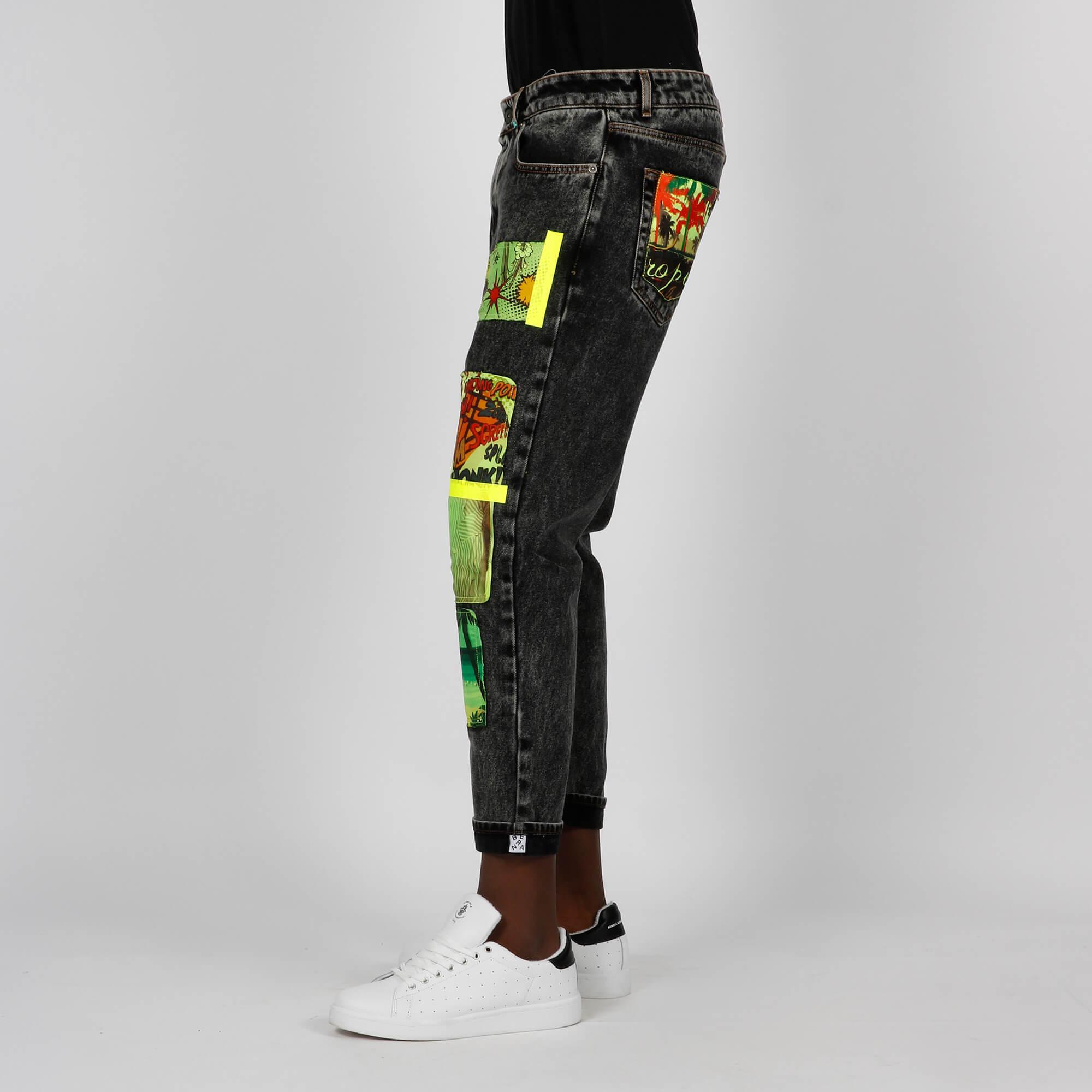 Jeans patch fumetto - Grigio scuro