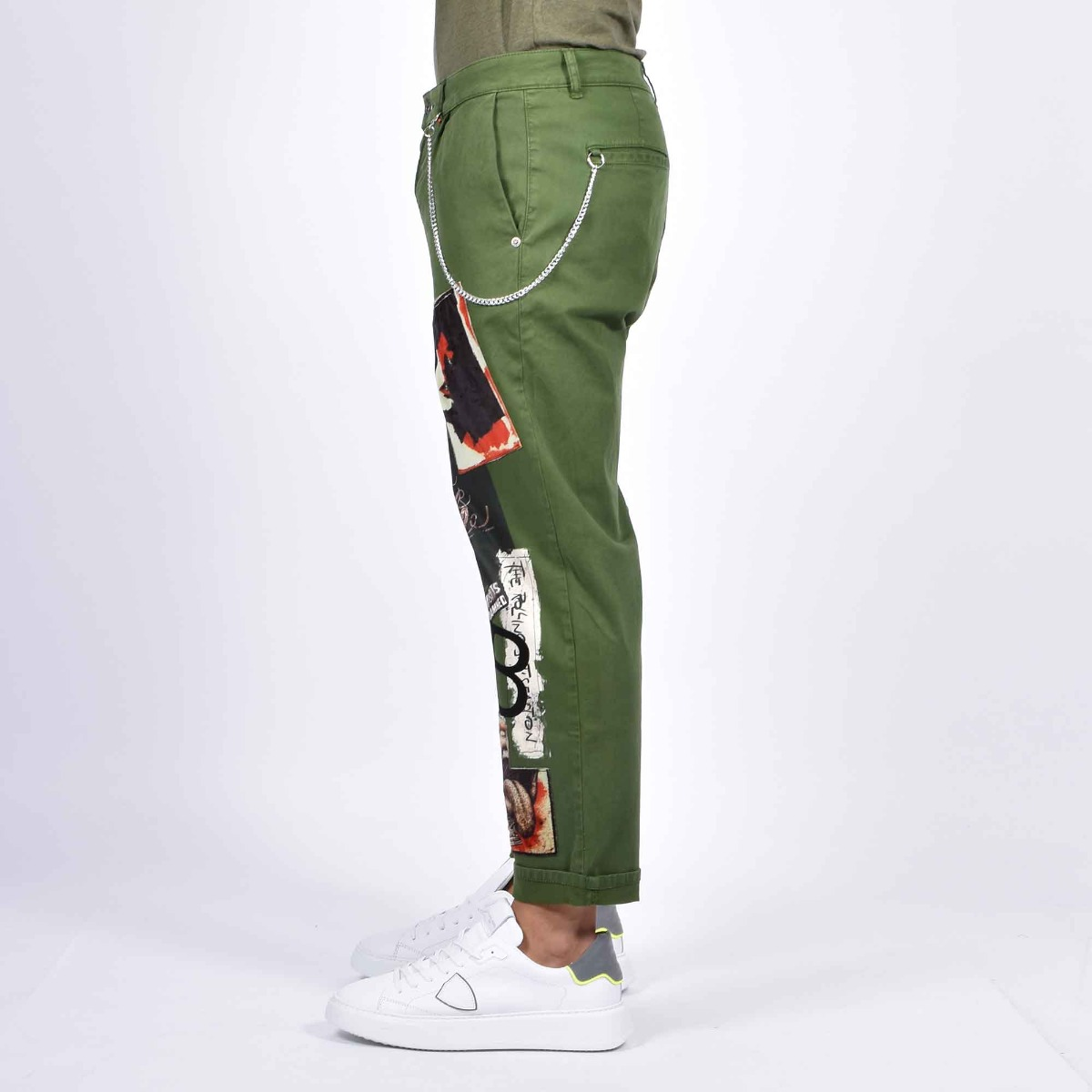 Jeans toppe rock & roll - Denim verde militare
