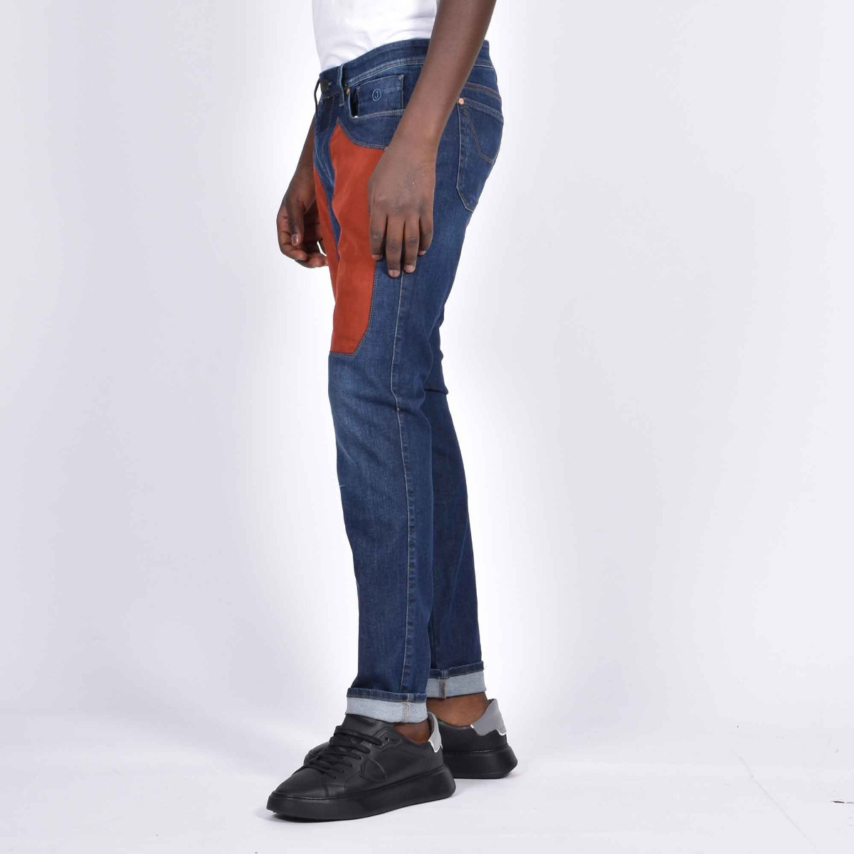 Jeans toppa alcantara bordeaux- Denim