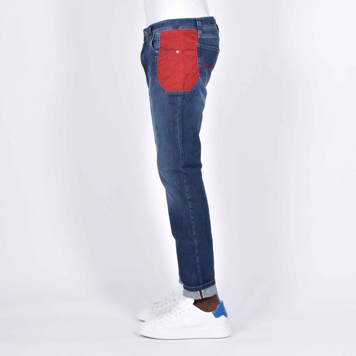 Jeans toppa rosso - Denim