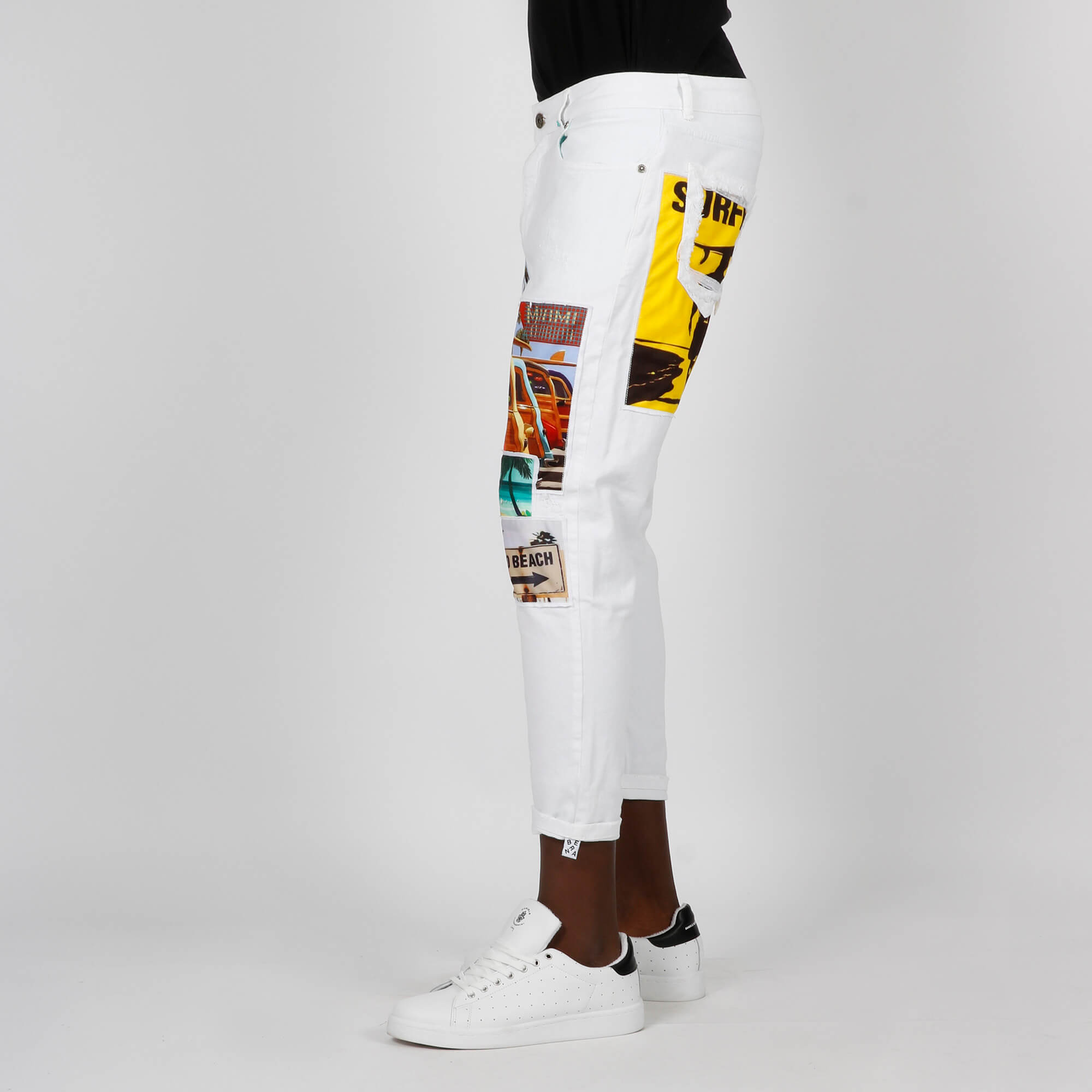 Jeans patch sea- Bianco