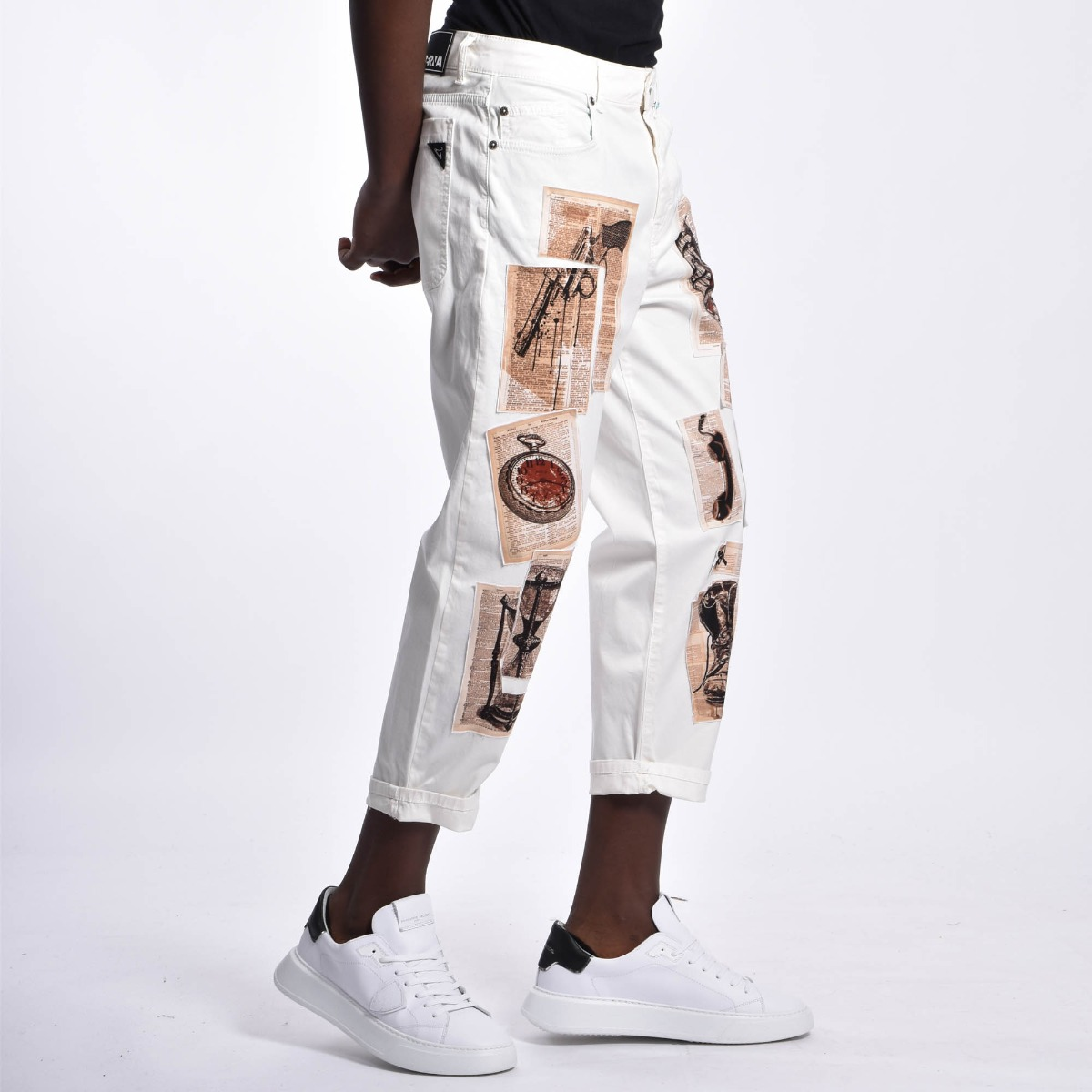 Pantalone toppe giornale - Bianco