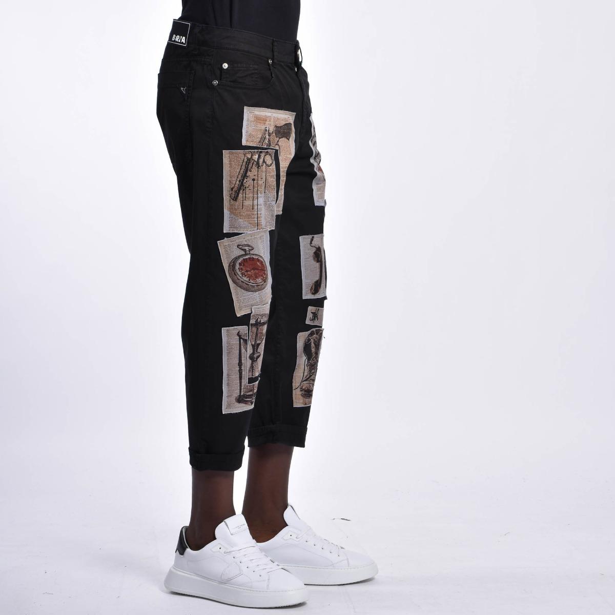 Pantalone toppe giornale - Nero