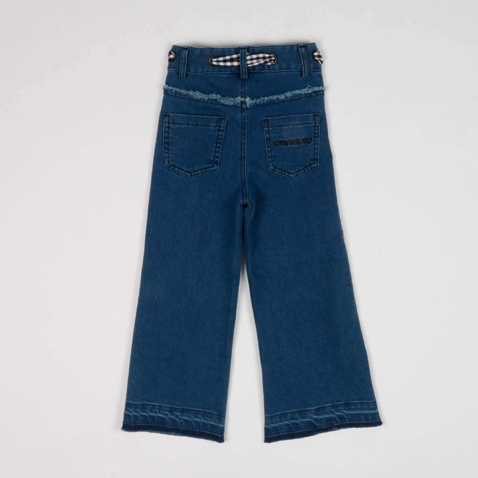 Jeans wide led con cintura in vichy- Denim