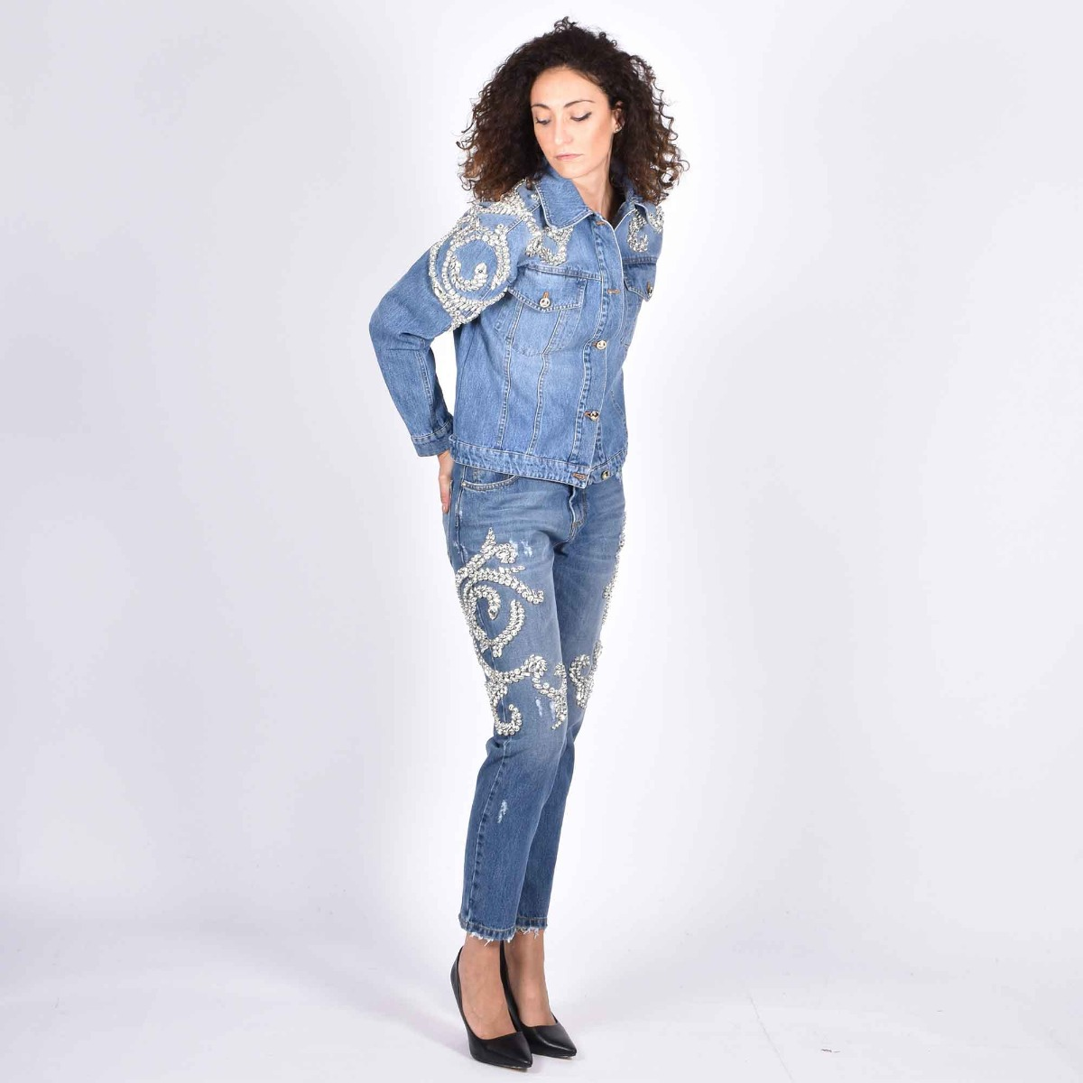 Jeans boyfriend arpons zirconi - Denim