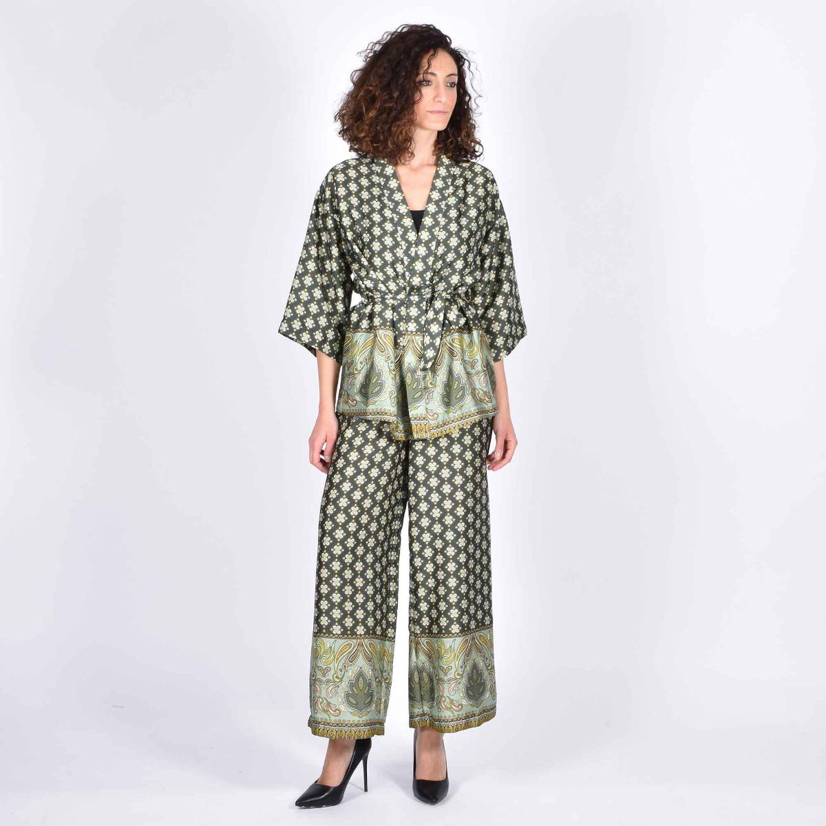 Kimono fantasia fiori piccoli- Verde