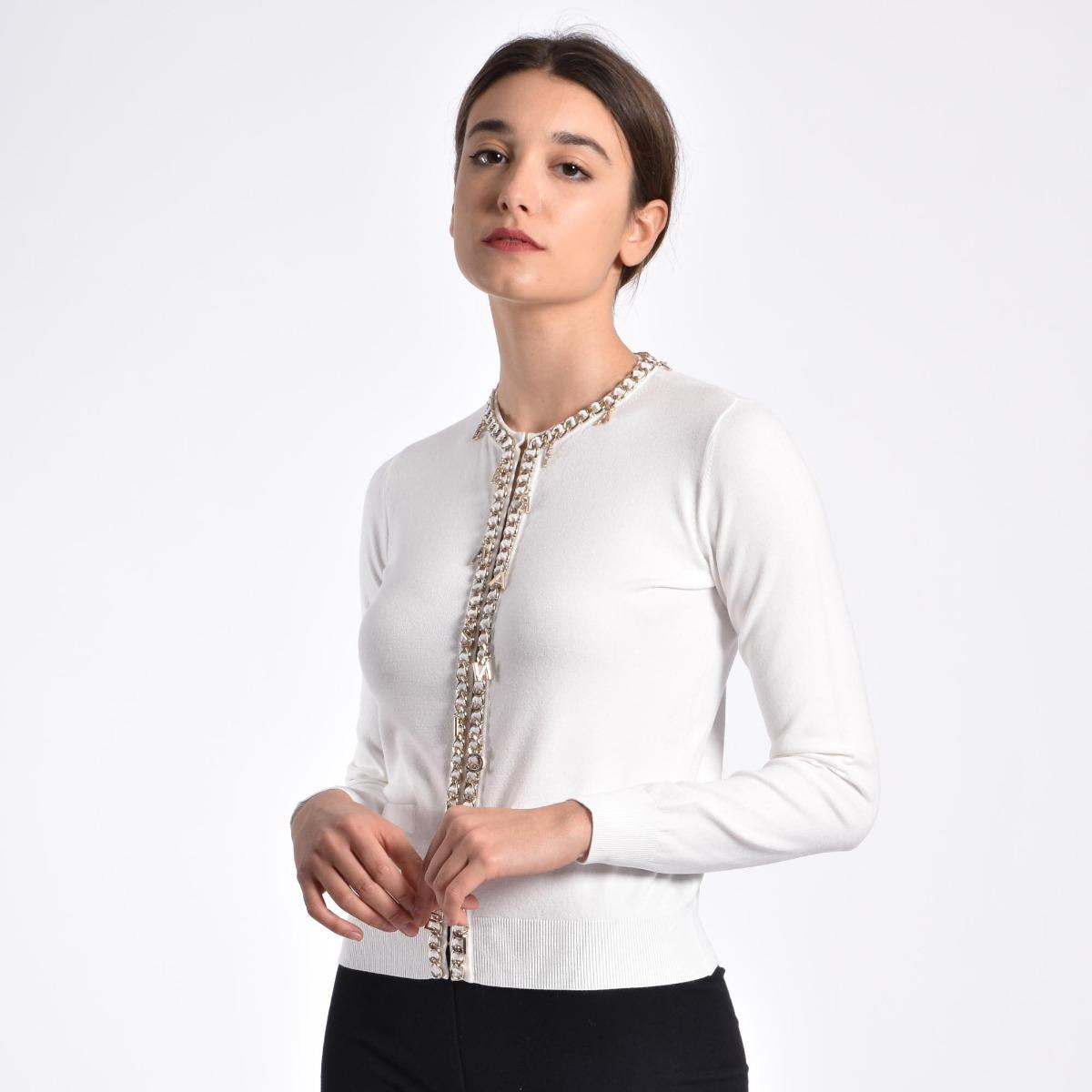 Maglia tricot con charm- Avorio