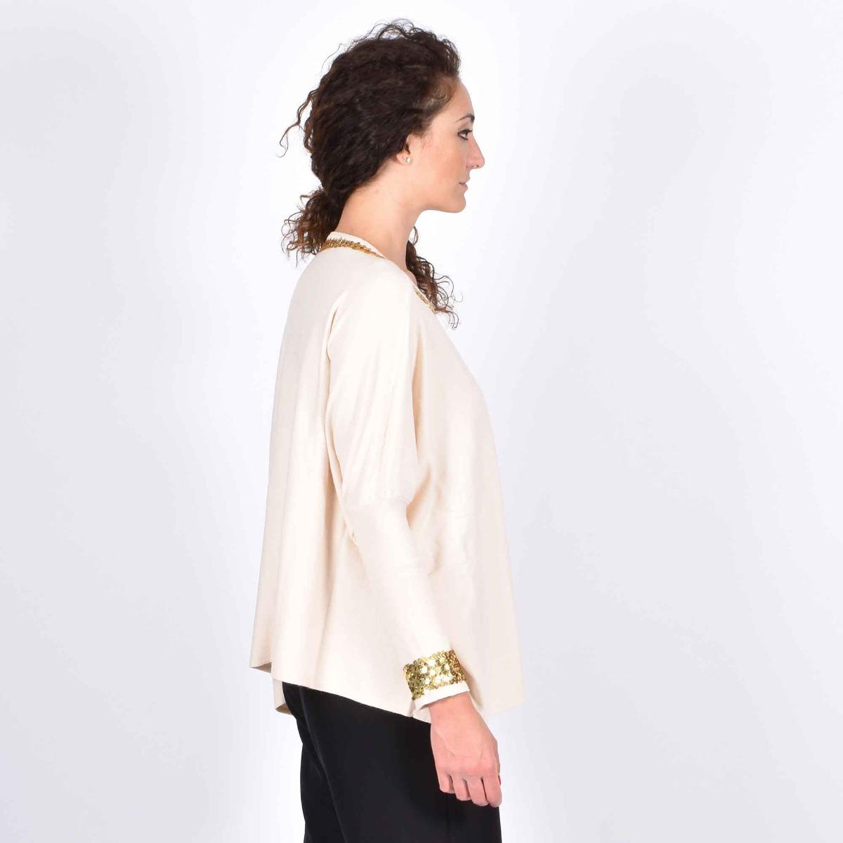 Maxi maglia con paillettes- Panna