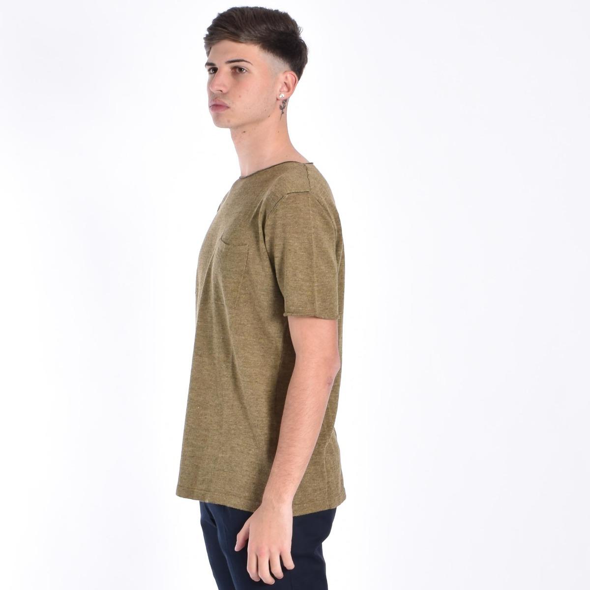 T-shirt con taschino - Verde oliva