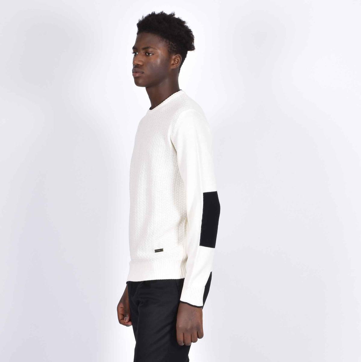 Girocollo in maglia e toppe - Bianco