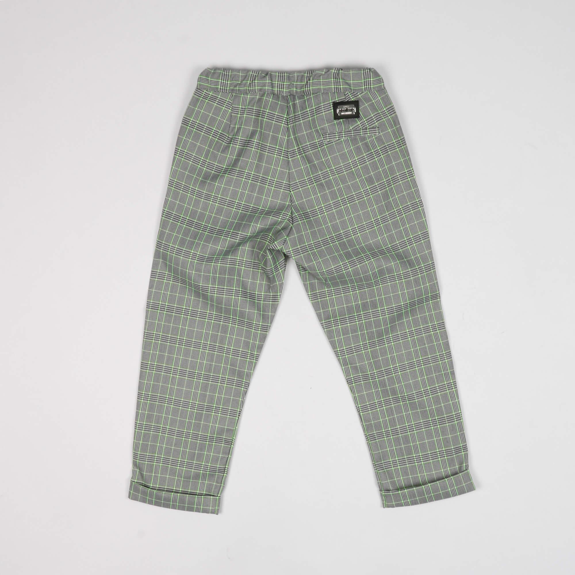 Pantalone check dettagli fluo - Nero/ Verde