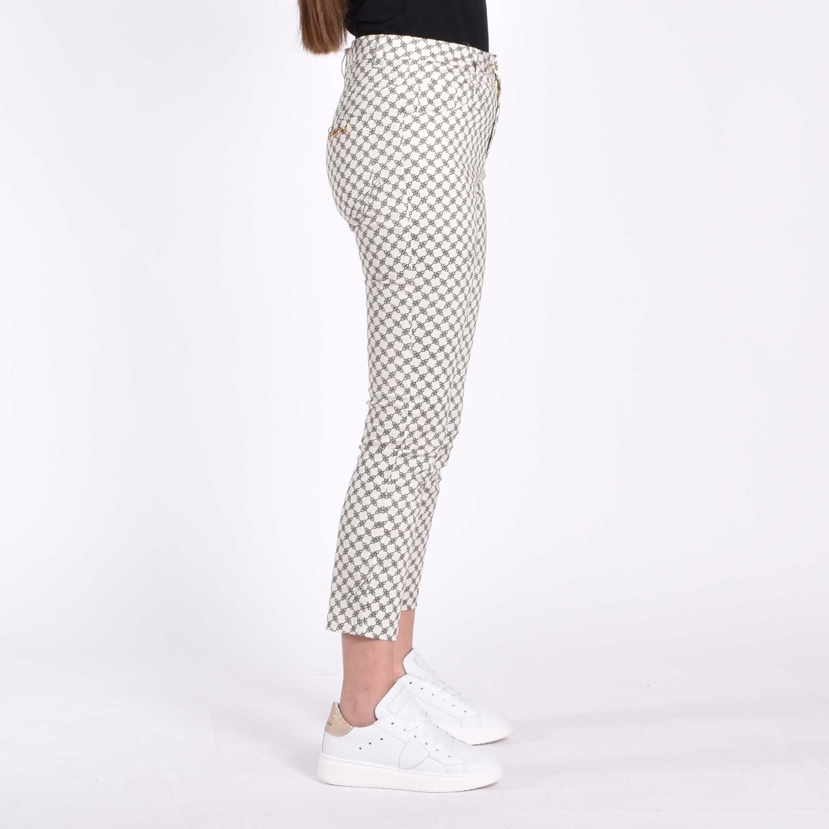 Pantalone con logo all-over - Burro/Nero